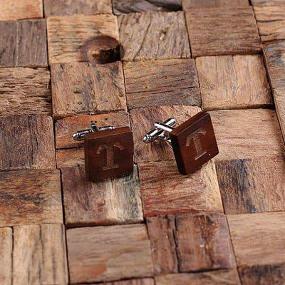 Engraved Wooden Square Cuff Links