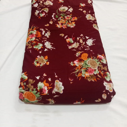 Synthetic Crepe Printed Allover Dress Material By Meter Maroon
