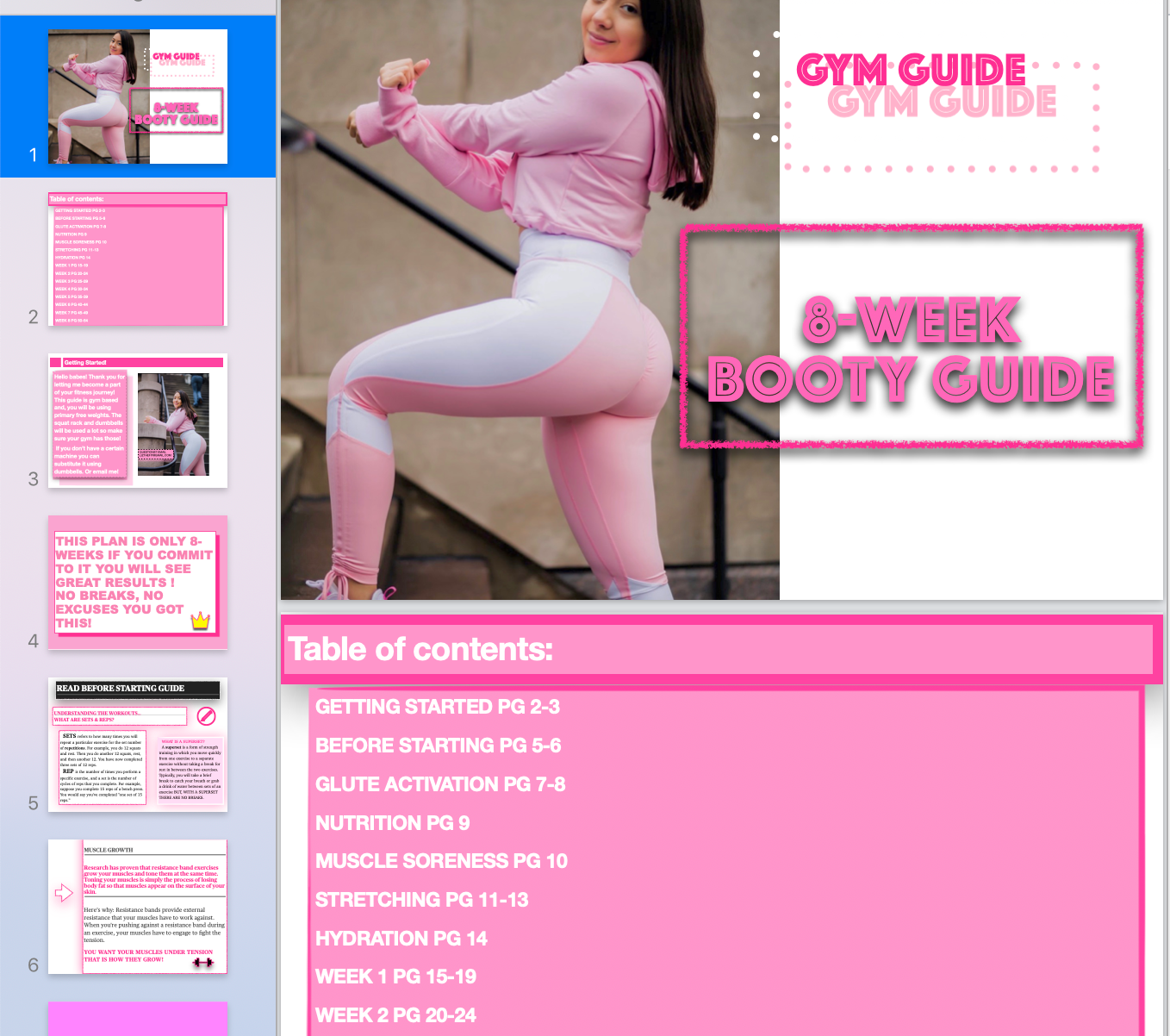 GYM GUIDE GLUTE GUIDE - LIZTHEFIT