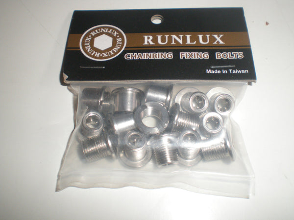 Runlux stainless steel chainring bolts single, double and triple