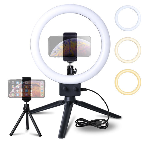 Mini LED Tripod Ring Light + Phone Holder