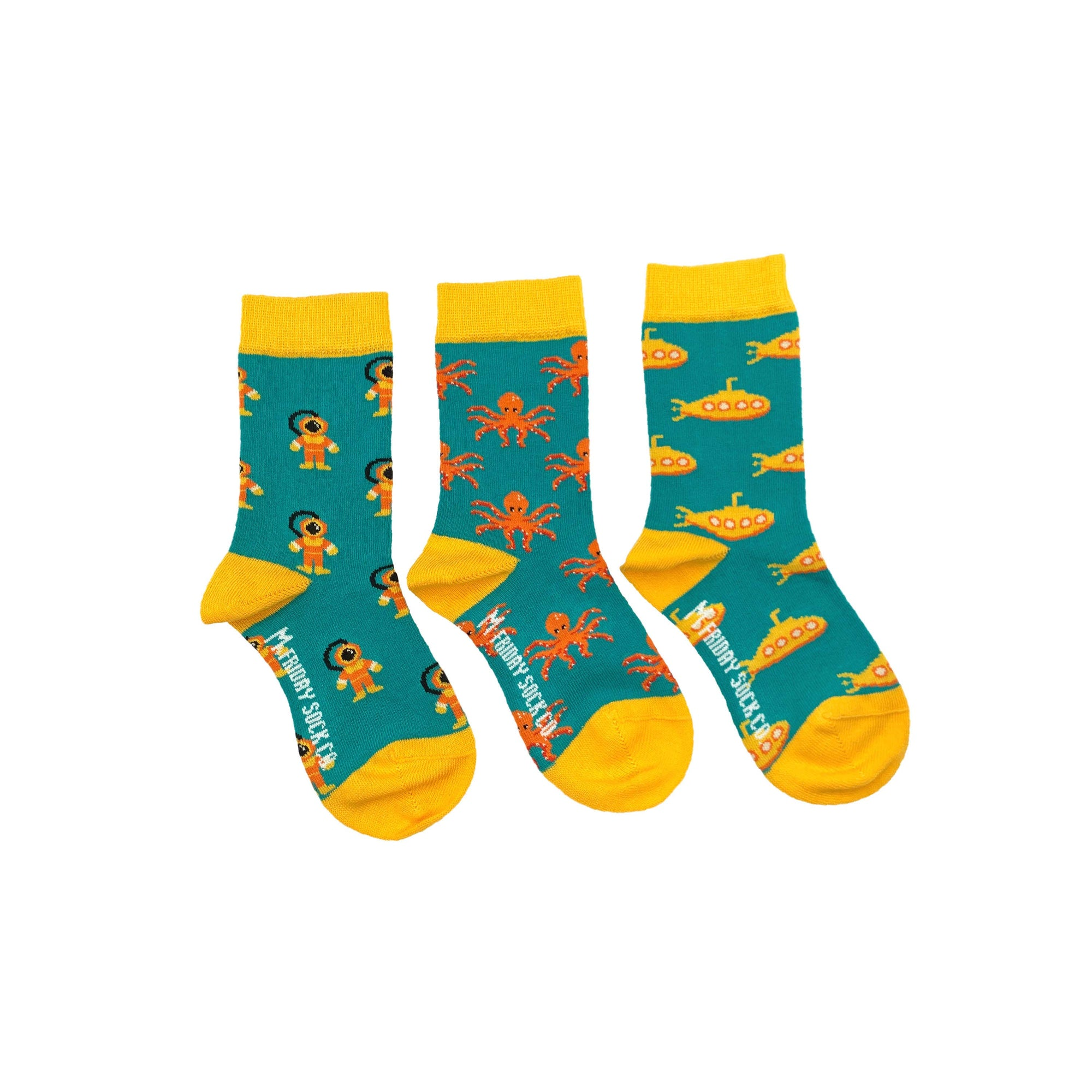 Friday Sock Co. Kid's Socks | Diver, Submarine, & Octopus | Mismatched