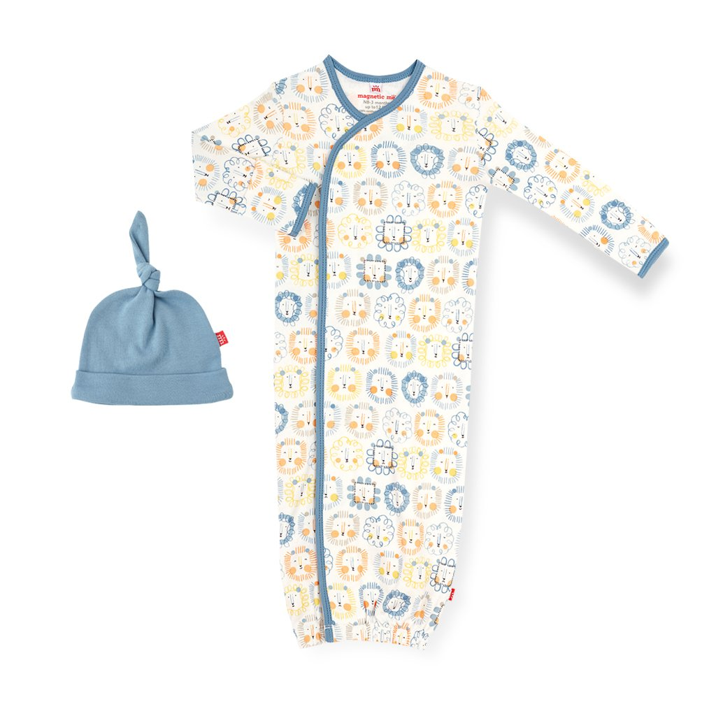 Magnetic Me Organic Cotton Magnetic Gown & Hat Set- Mane Event