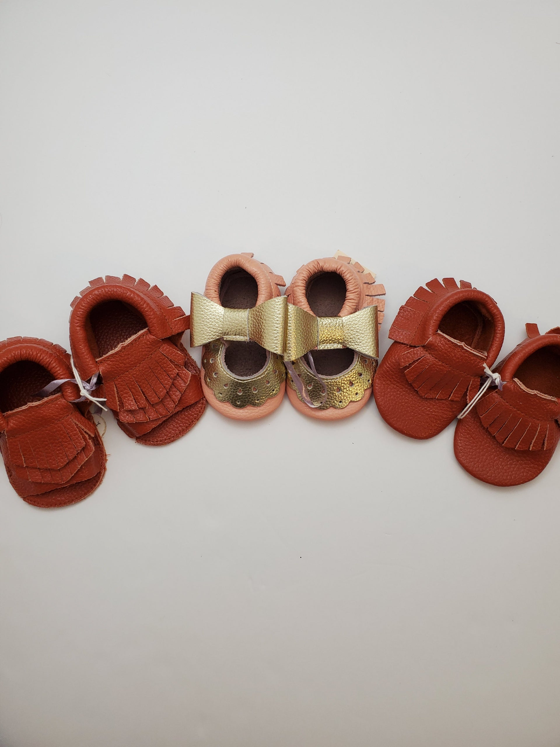 Sophia Sky Handmade Leather Baby Moccasins - Multiple Styles