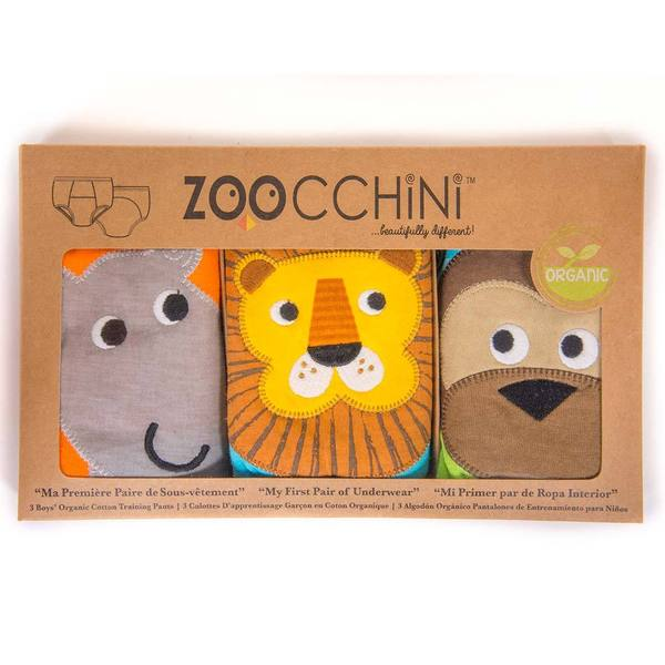 "ZOOCCHINI 3pc Organic Cotton ""My First Pair of Underwear"" Potty Training Pants Set - Safari Friends"