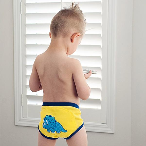 "ZOOCCHINI 3pc Organic Cotton ""My First Pair of Underwear"" Potty Training Pants Set - Jurassic Pals"