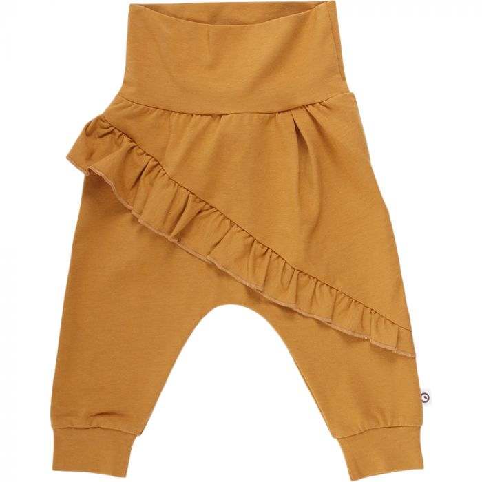Müsli Cozy Me Baby Pants with Diagonal Frills - Wood