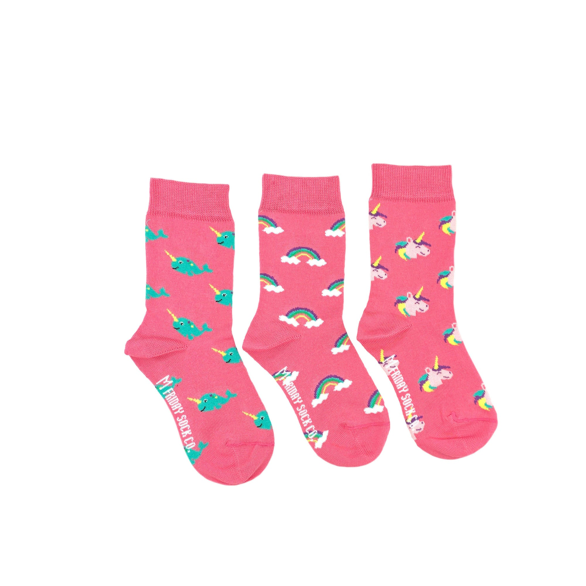 Friday Sock Co. Kid's Socks | Rainbow Unicorn Narwhal | Mismatched