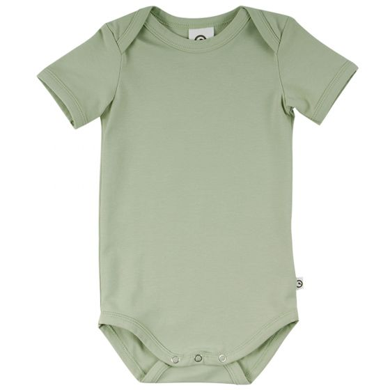 Müsli Organic Cotton Cozy Me Solid Color Short Sleeve Bodysuit - Pale Moss
