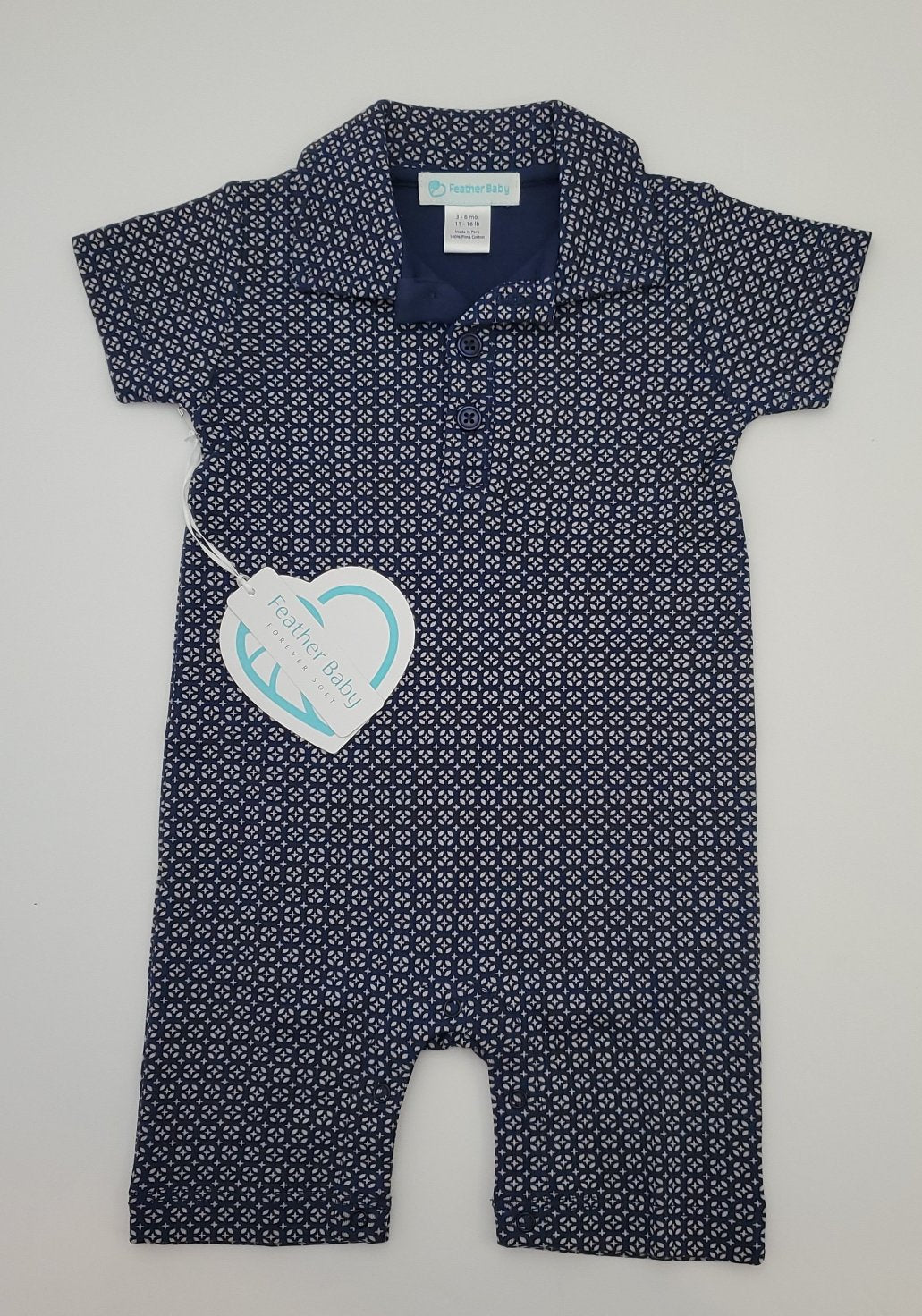 Feather Baby Collared Romper - Tiny Geo on Indigo