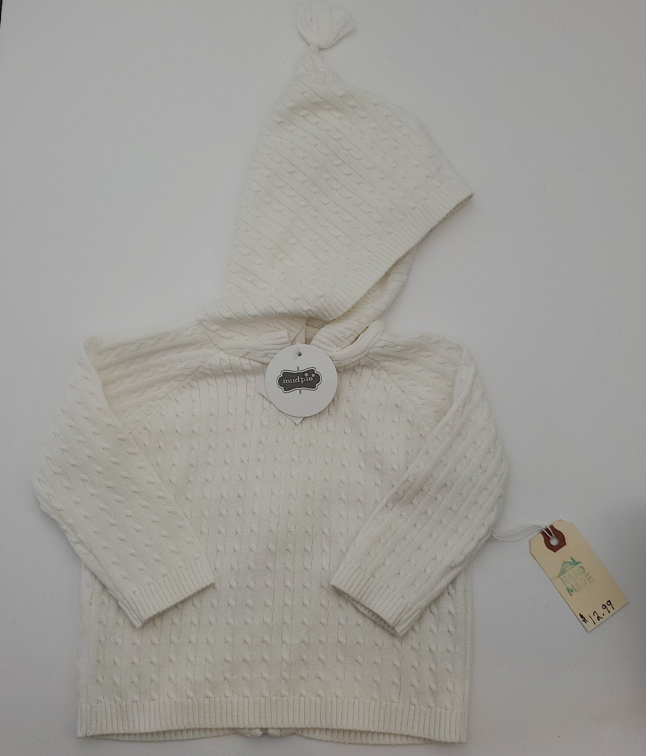 Resale 0-3 m Mud Pie Hooded Sweater - Ivory Lightweight Cable