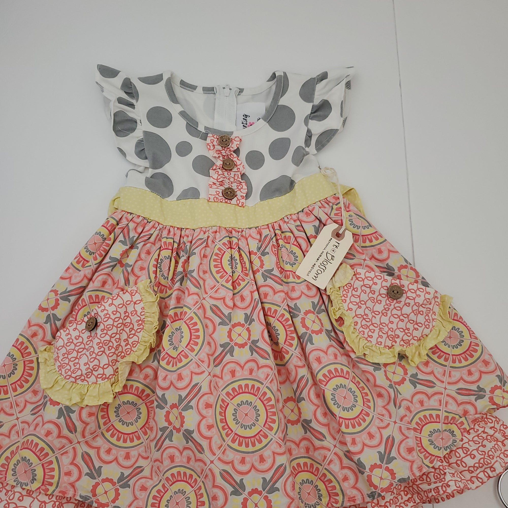Resale 3T Counting Daisies Ruffle Dress w/ Pockets