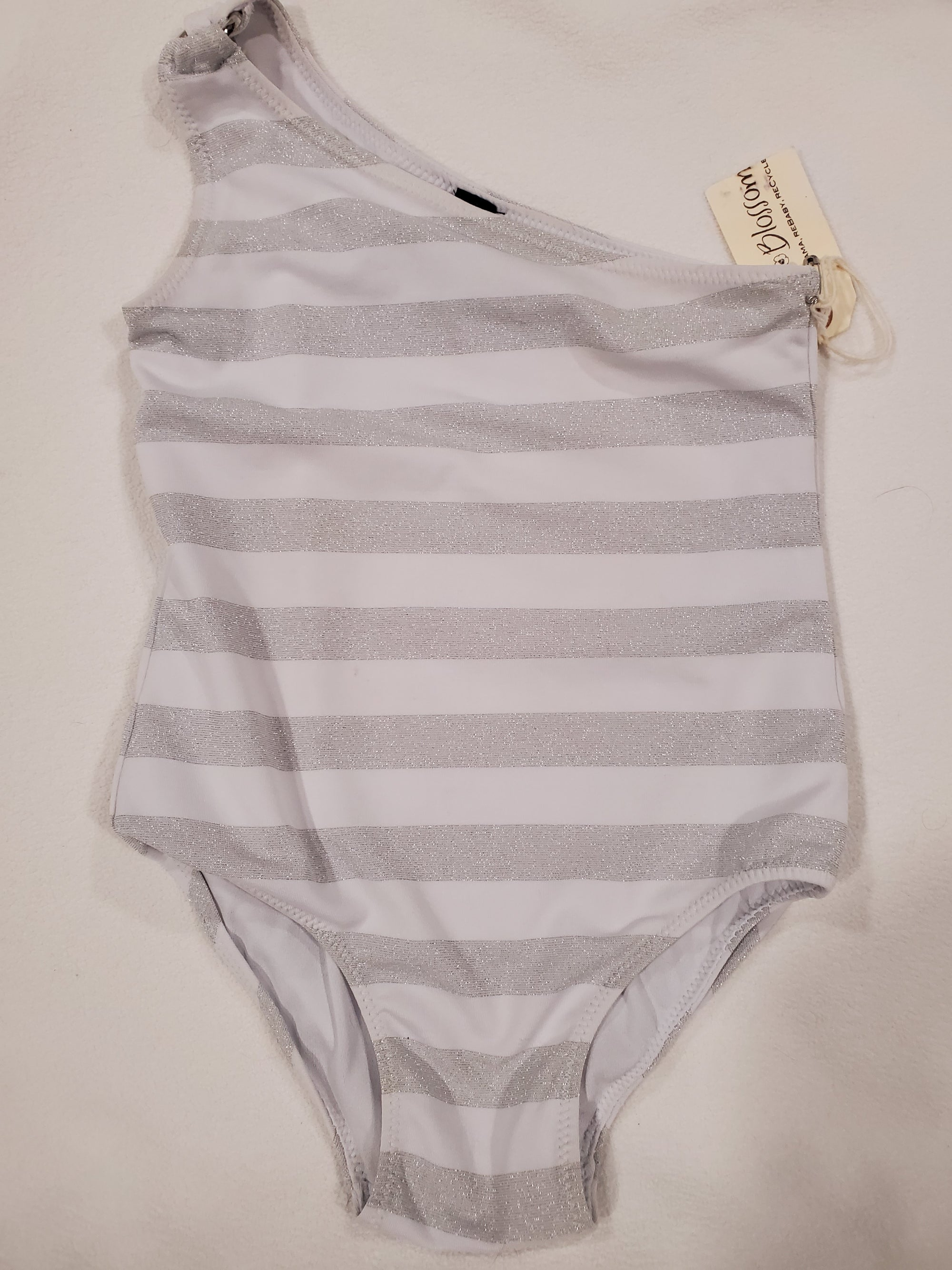 Resale 3T Baby Gap White Silver Sparkle Striped Swimsuit