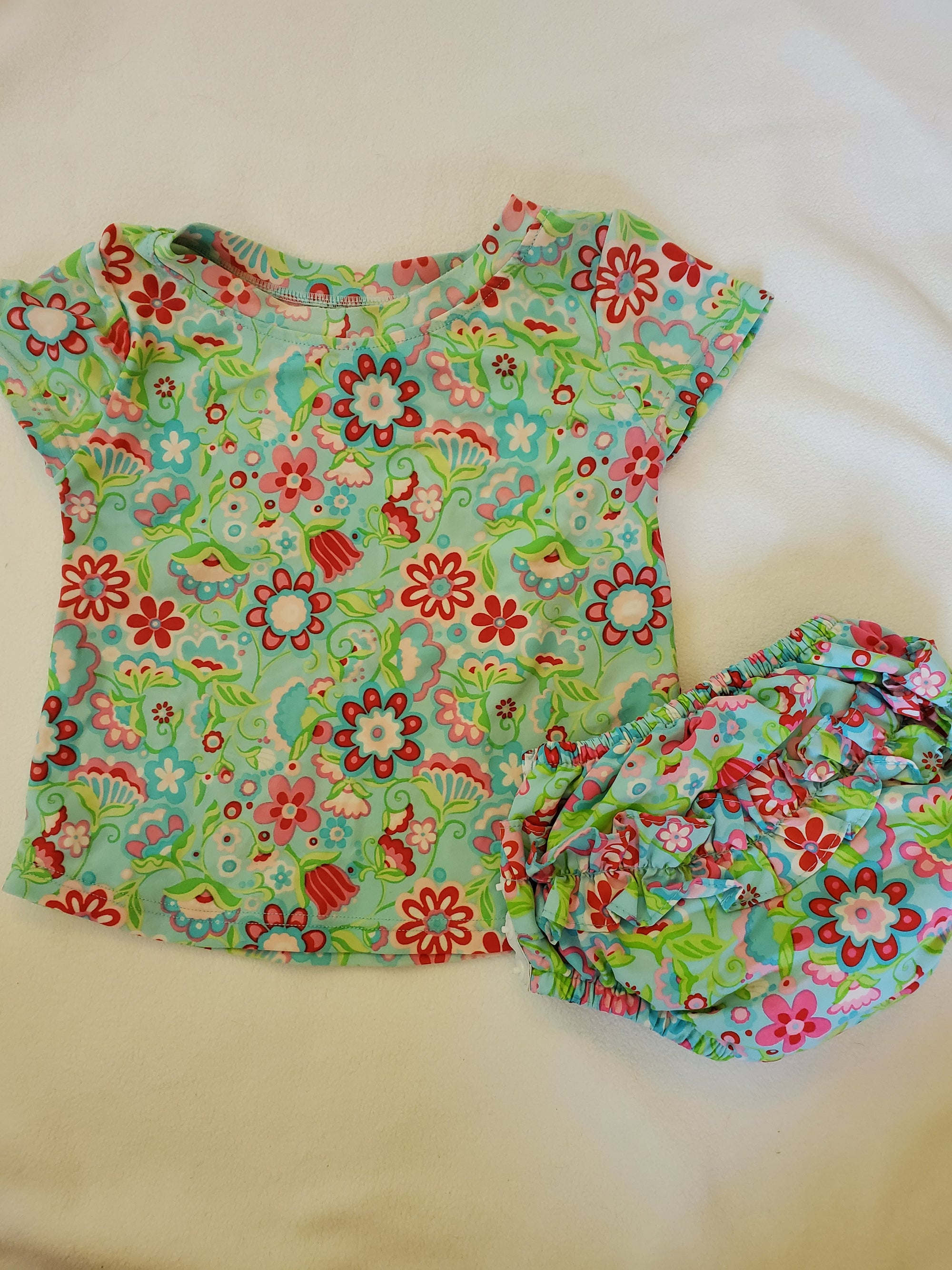 Resale XL 18-24 m iPlay Rashguard & Swim Diaper Aqua/Pink Floral Swimsuit Set