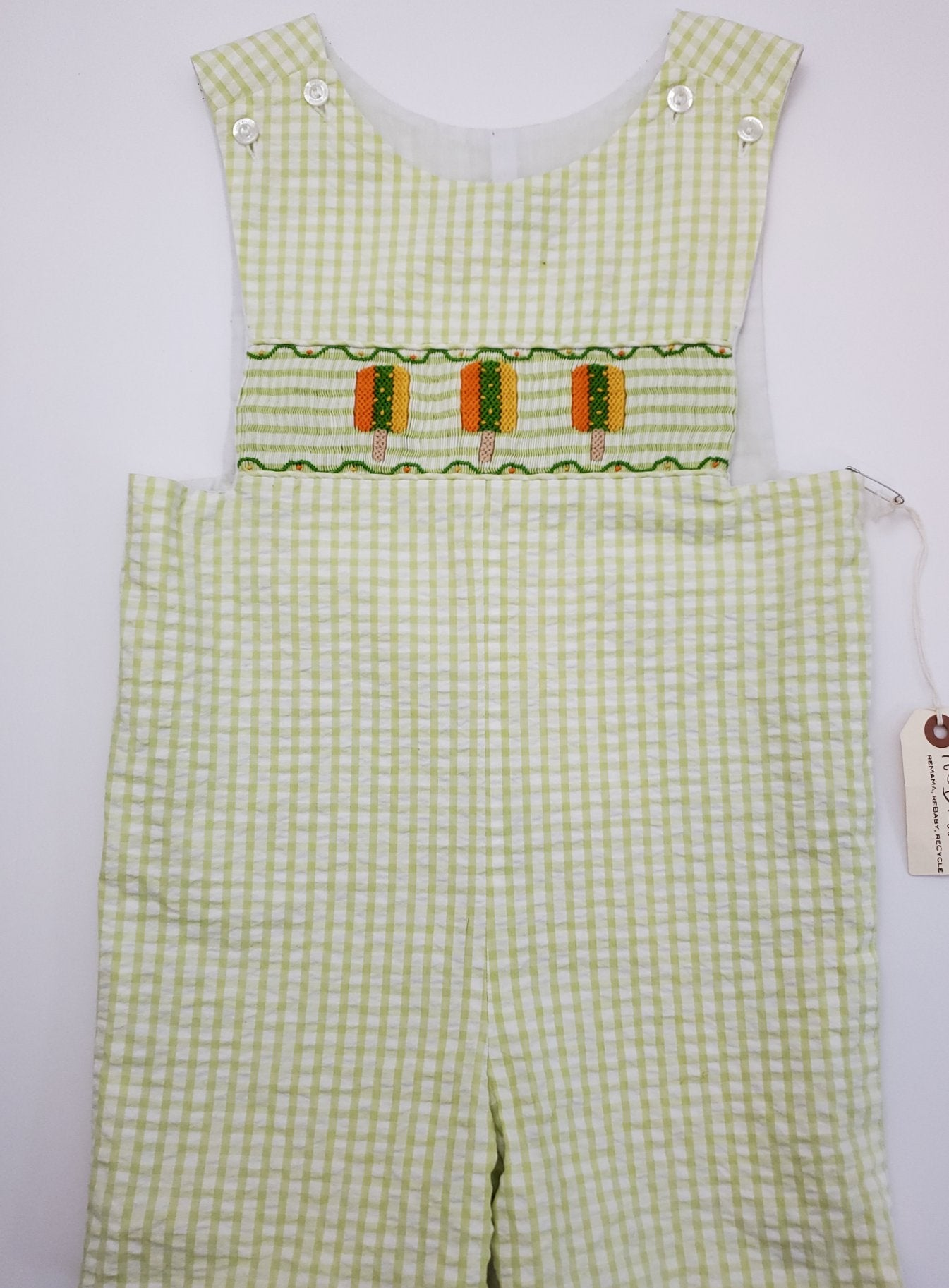 Resale 4T Green Gingham Popsicle Overall Jumper