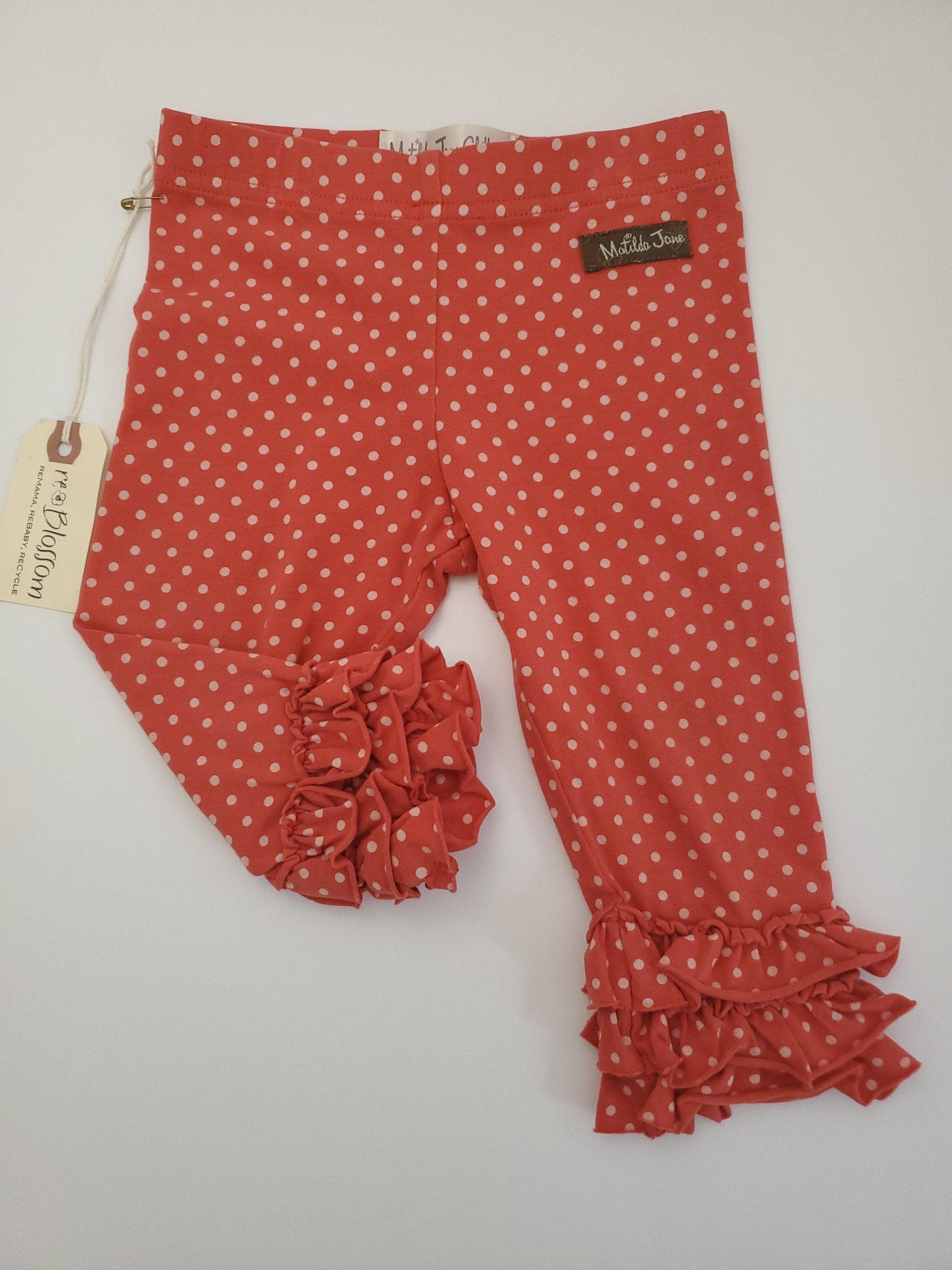 Resale 12m Matilda Jane Ruffle Legging - Coral / White Polka Dot