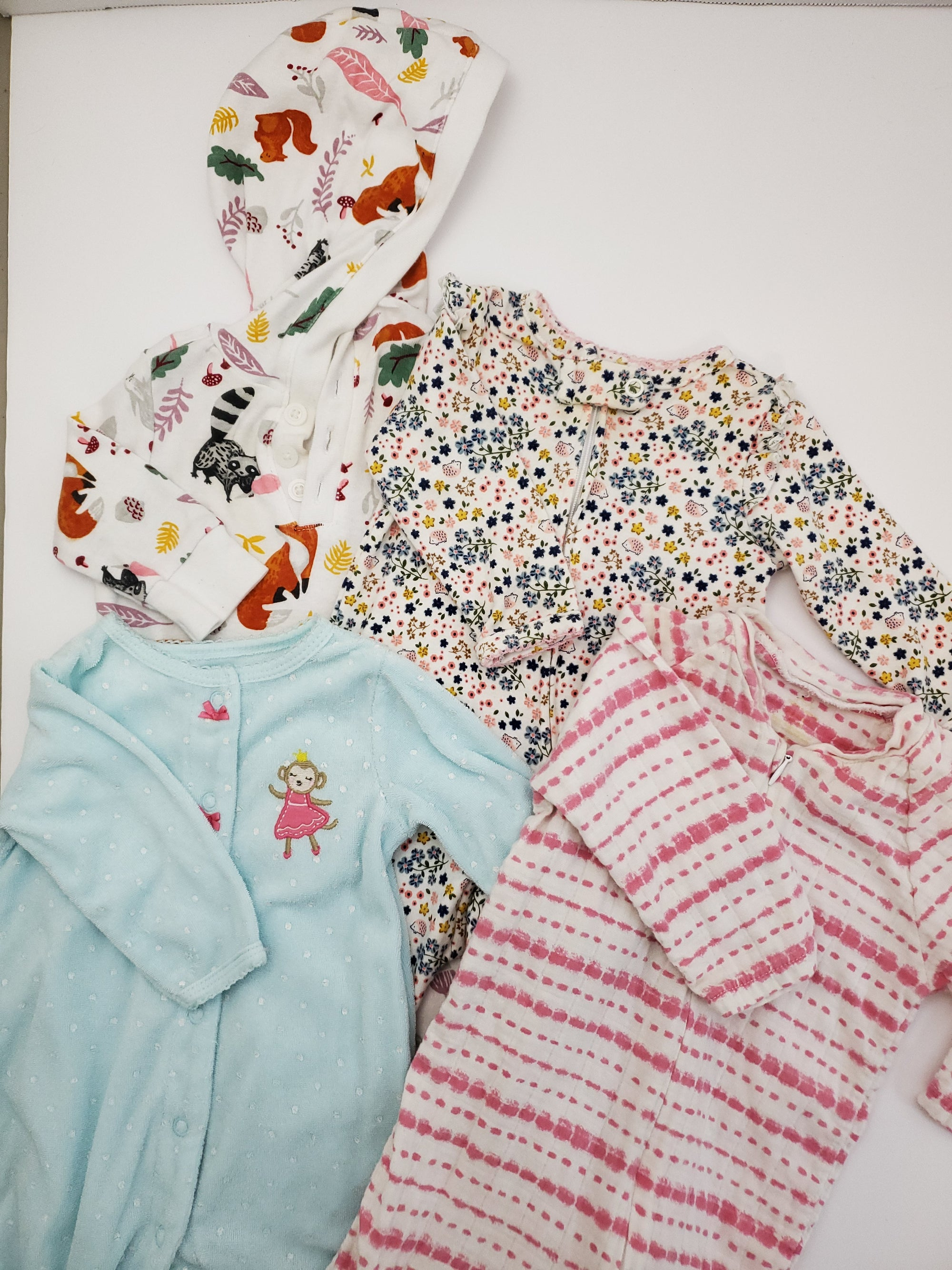 Resale 0-3 m / 3 m Carter's Footed Pajamas & Romper 4pc Set - Floral / Dot / Striped / Animals