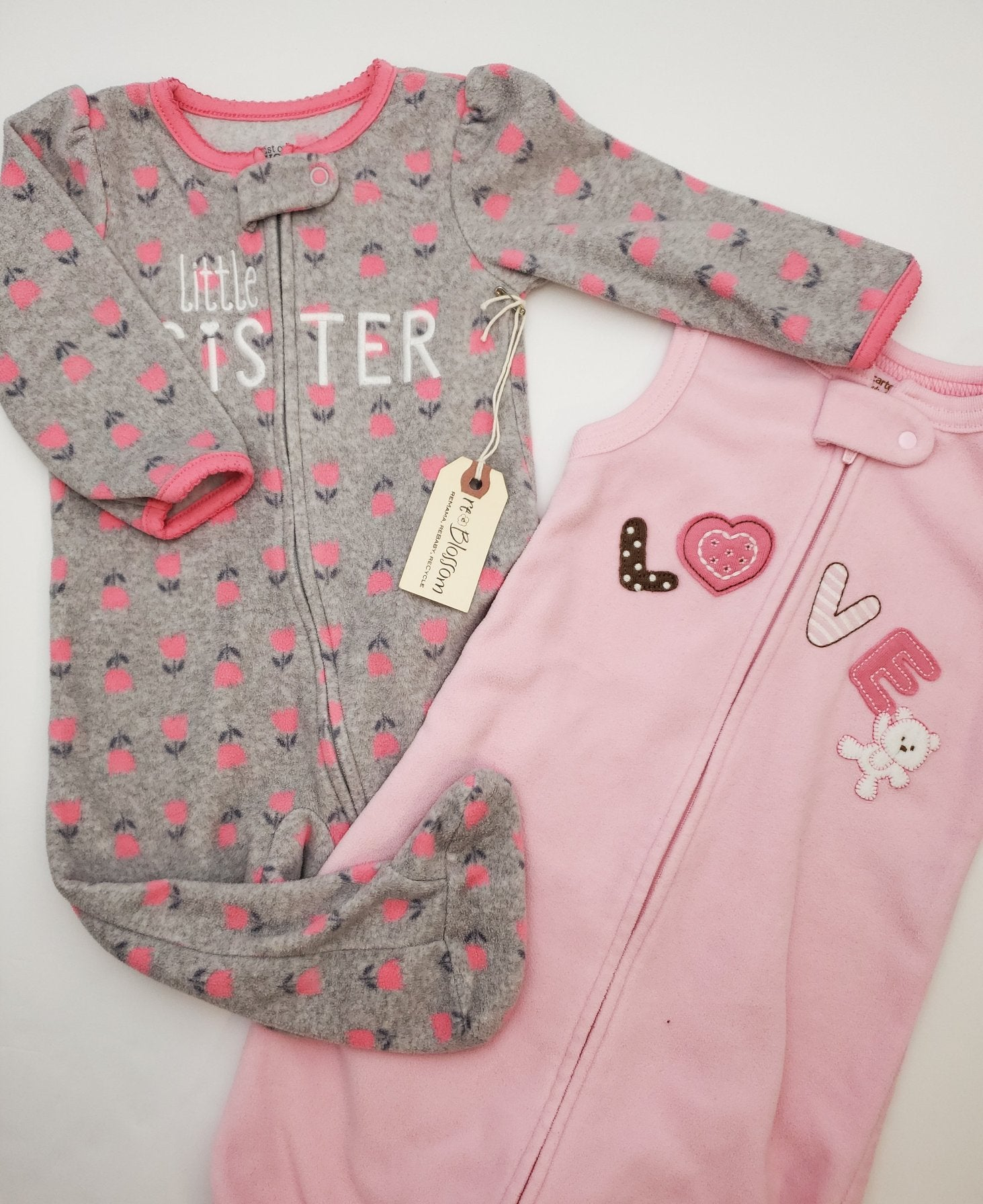 Resale 0-9 m Carters Love Pink Fleece Sleep Sack & 9 m Little Sister Footed Pajama 2pc Set