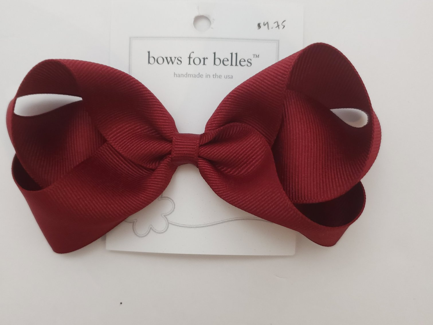 Bows for Belles Large Solid Bow - Dark Burgundy