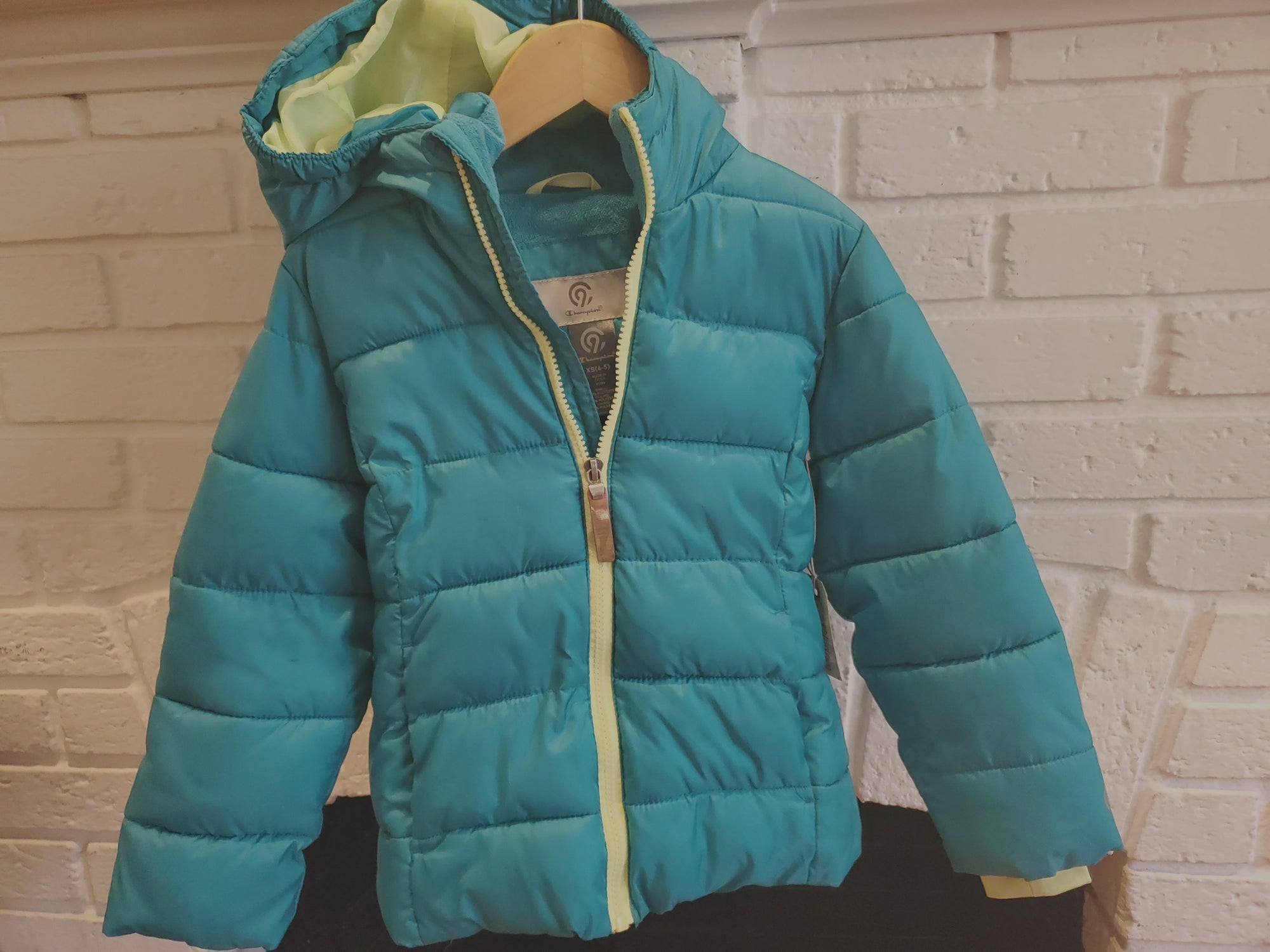 Resale 4-5T (XS) Champion Hooded Puffer Jacket - Teal w/ Yellow Trim