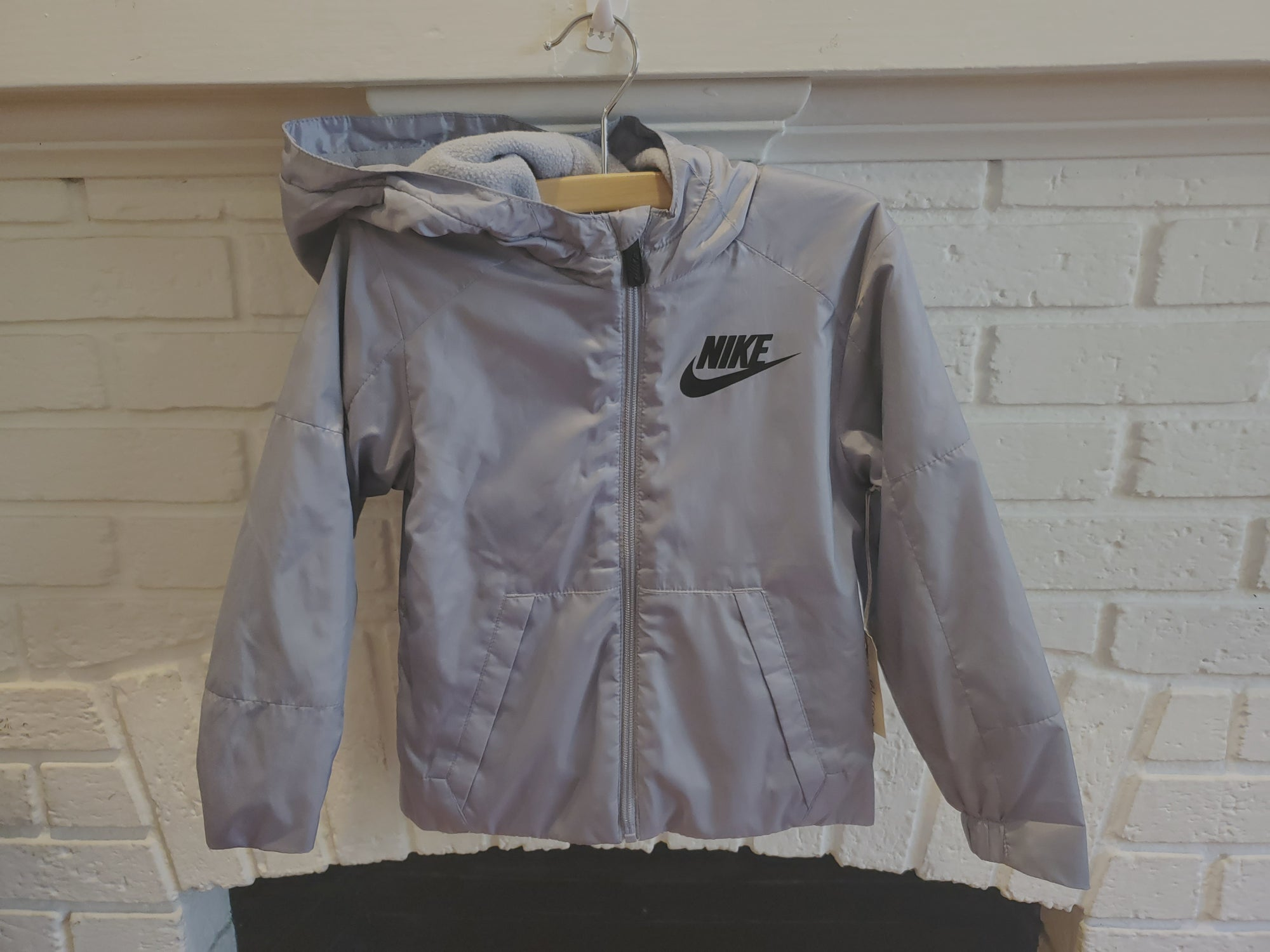 Resale 4T Nike Fleece Lined Hooded Jacket  - Grey