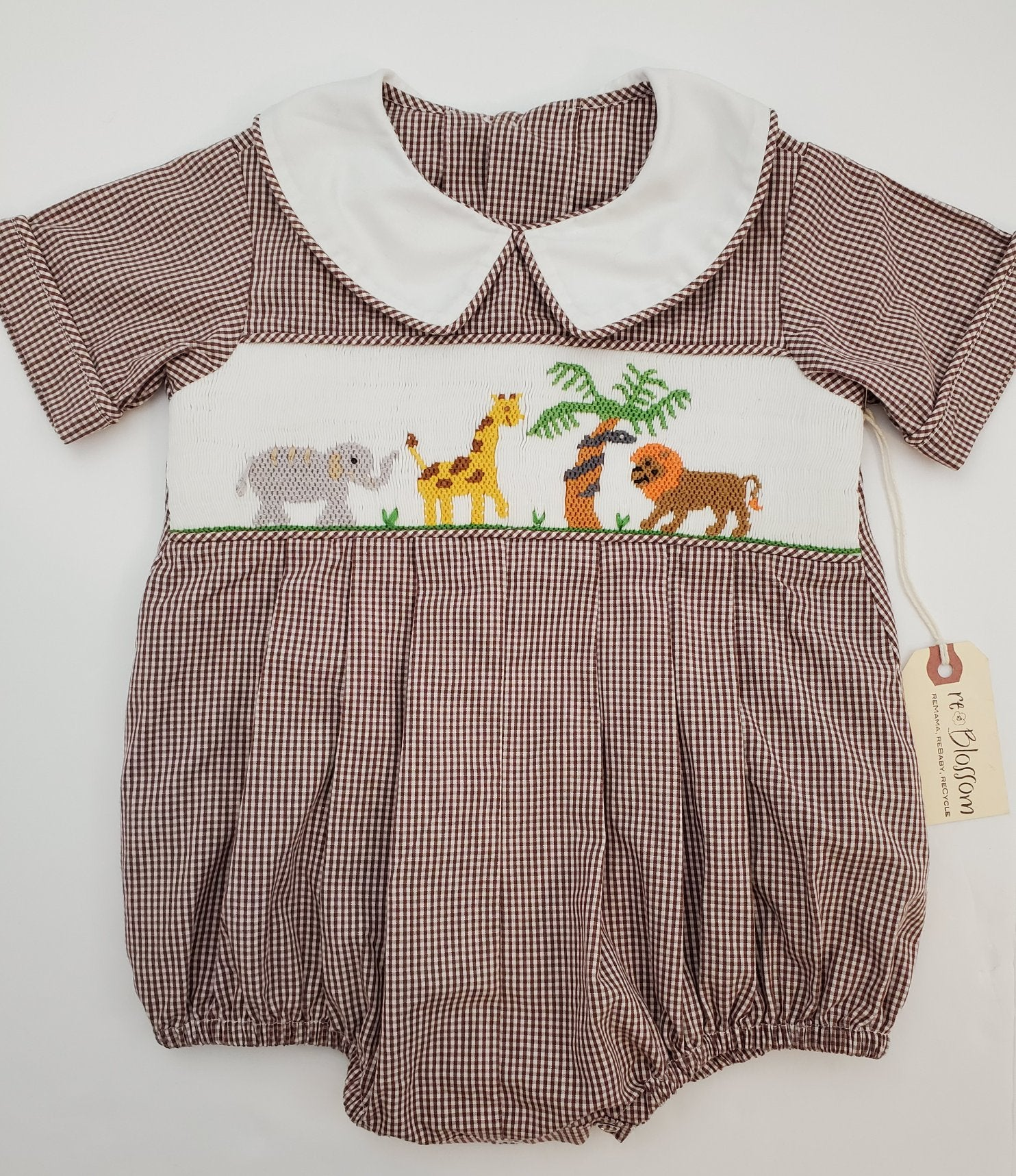 Resale 9 m Remember Nguyen Smocked Brown Gingham Safari Romper
