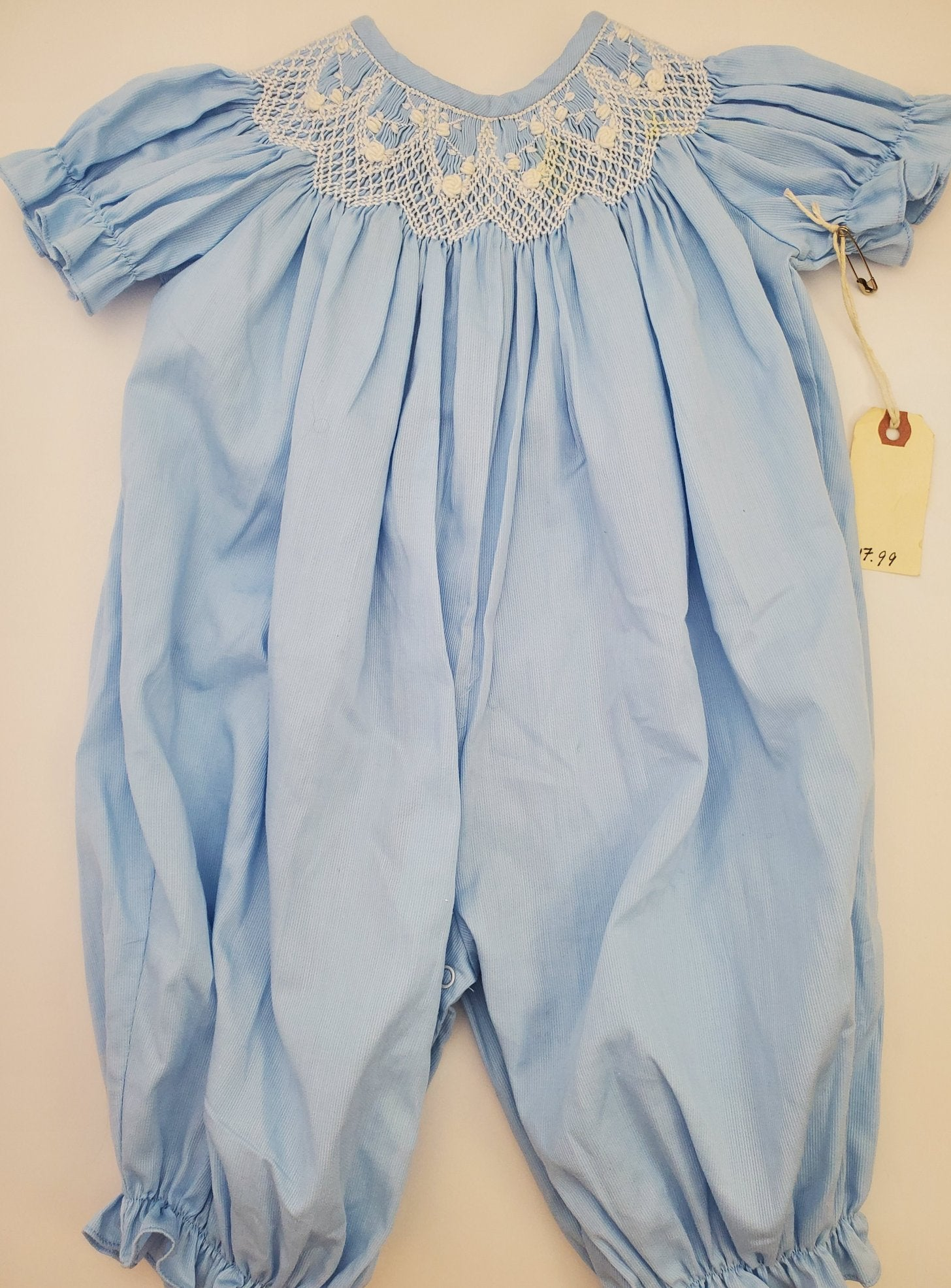 Resale 6 m Delaney Smocked Blue Romper with Lace Accents