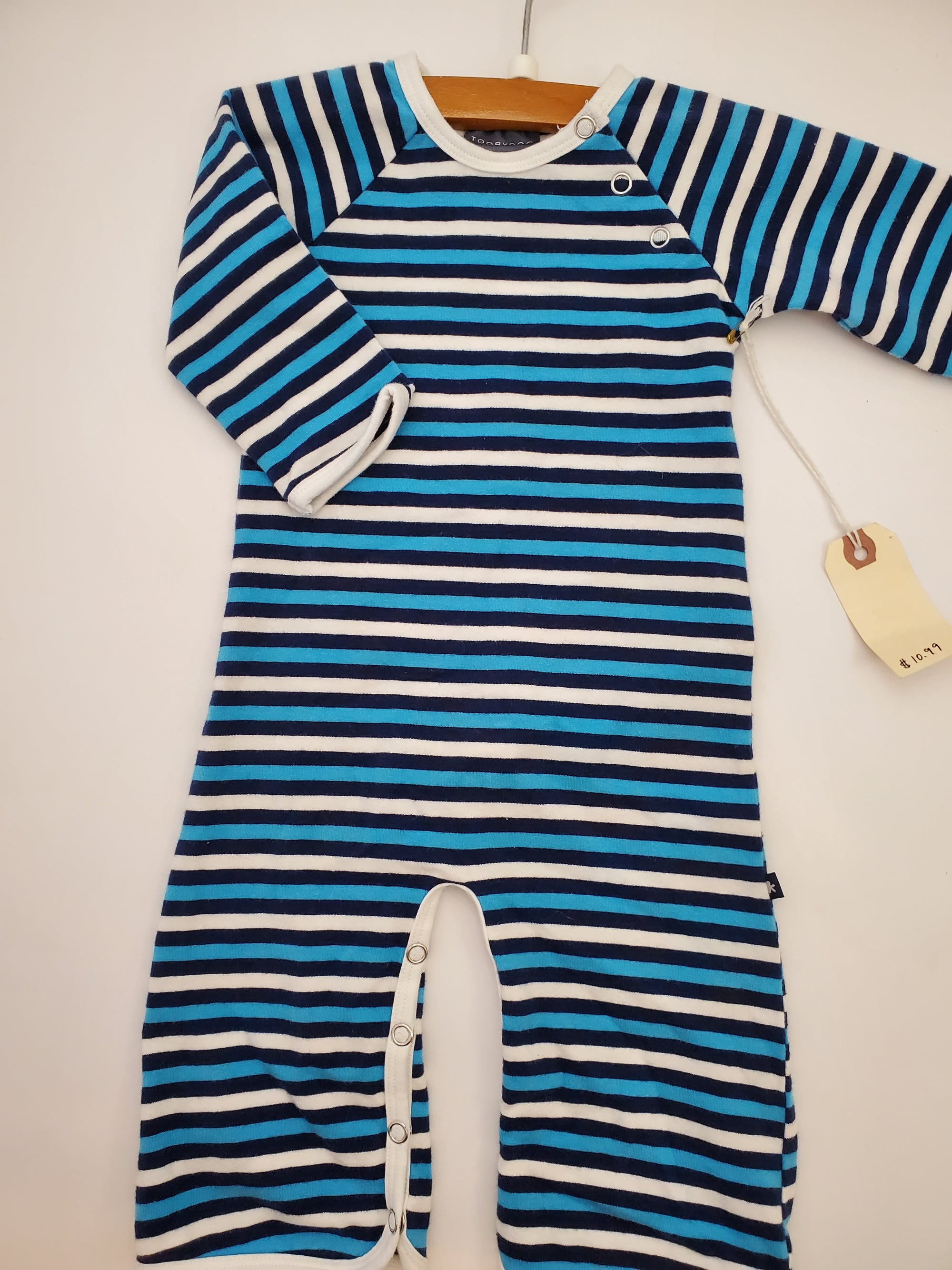 Resale 6-12 m Toobydoo Blue Striped Playsuit