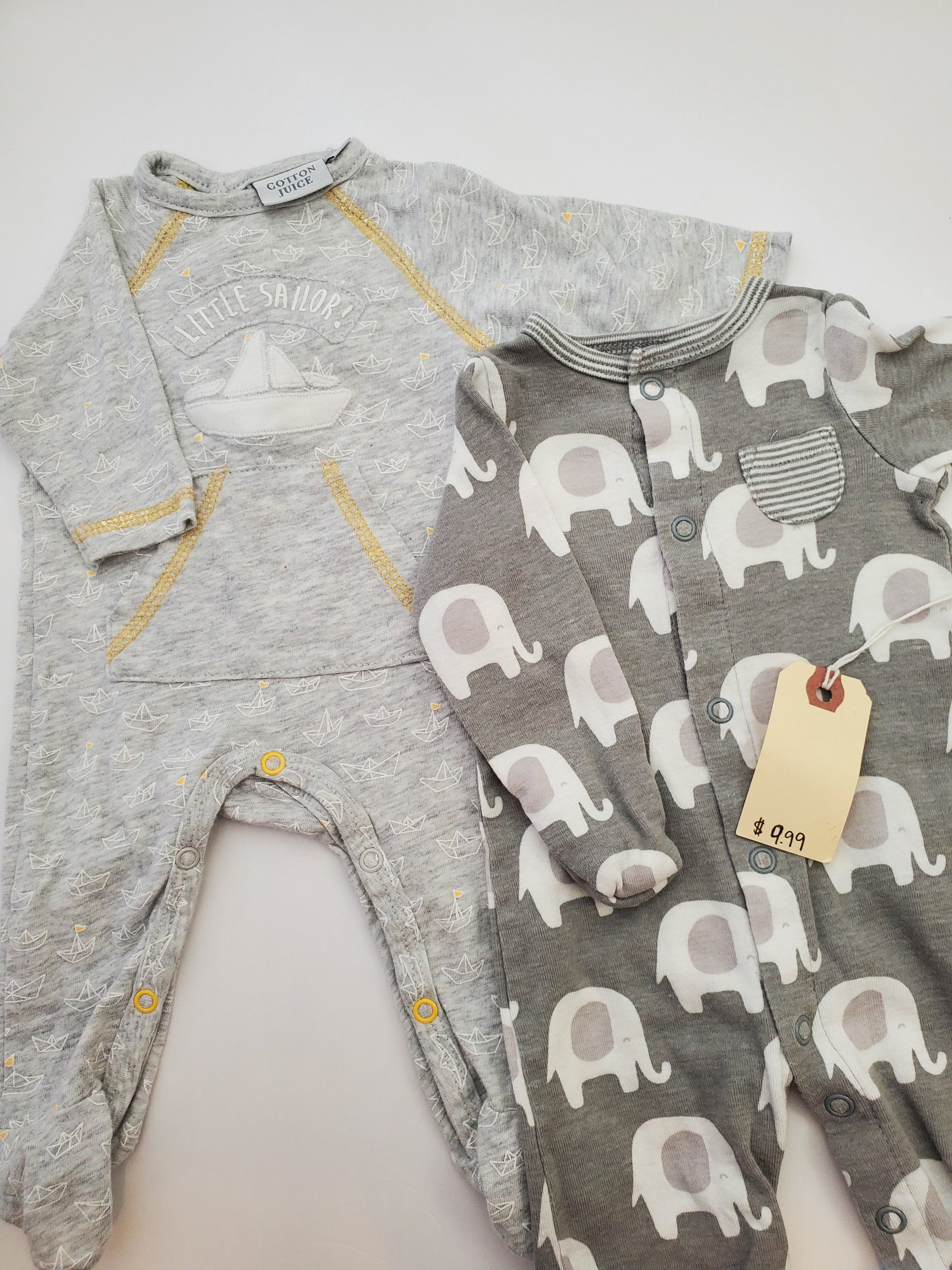 Resale Newborn Carter's Elephant & Cotton Juice Boat Pajama Set