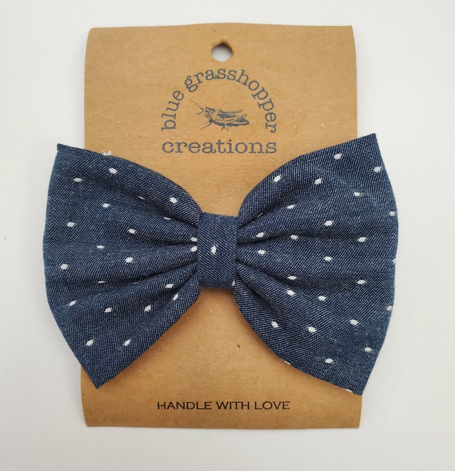 Blue Grasshopper Creations Bow / Bow Tie - Blue Polka Dot
