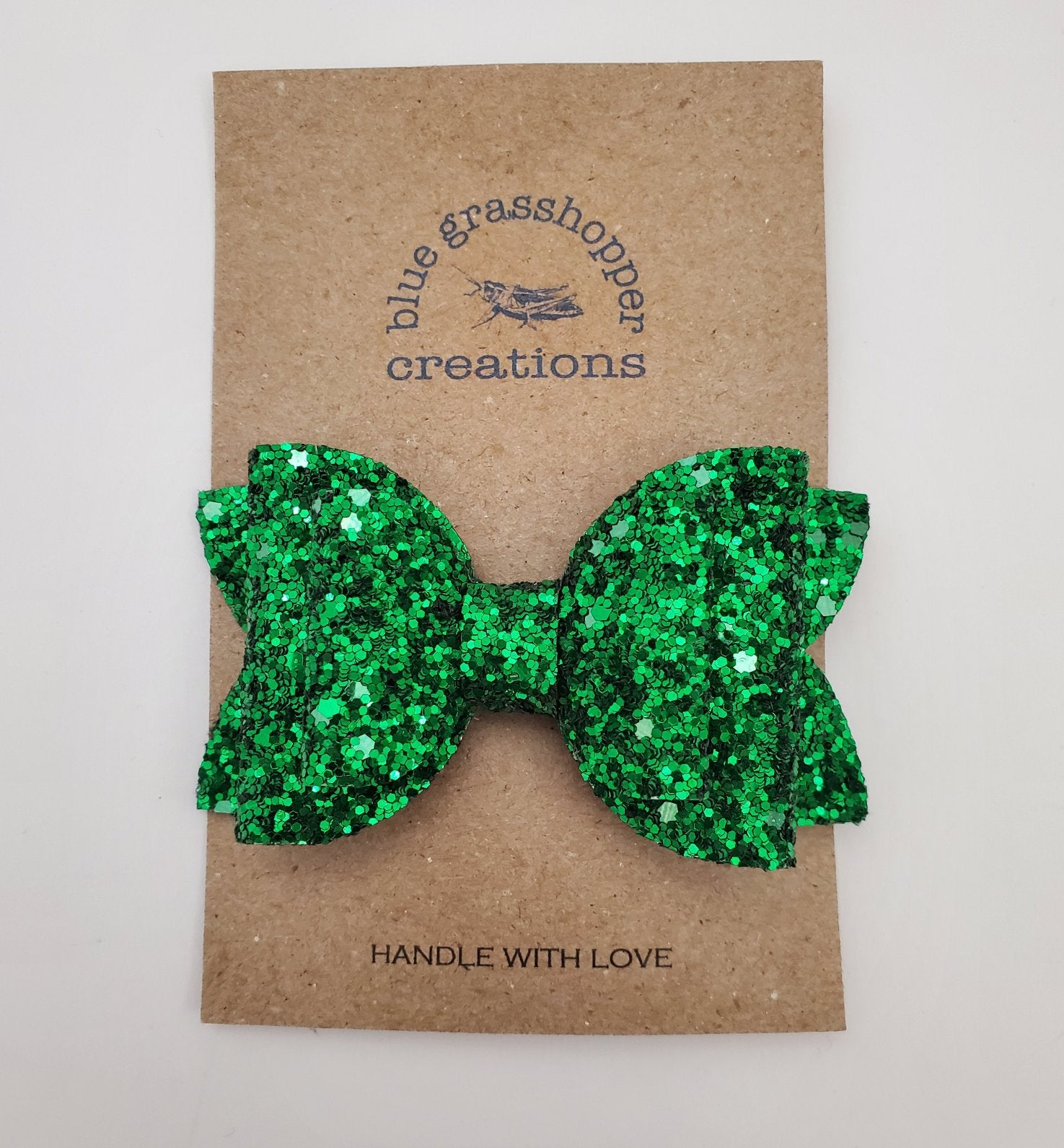 Blue Grasshopper Creations Bow - Green Sparkle