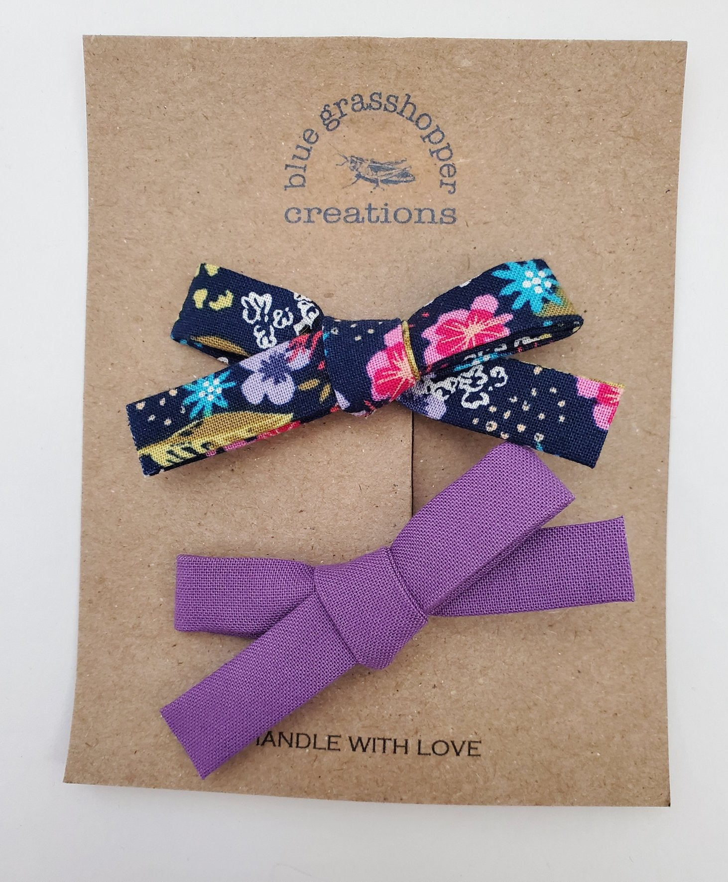 Blue Grasshopper Creations 2pc Hand-Tied Bow Set - Floral & Purple