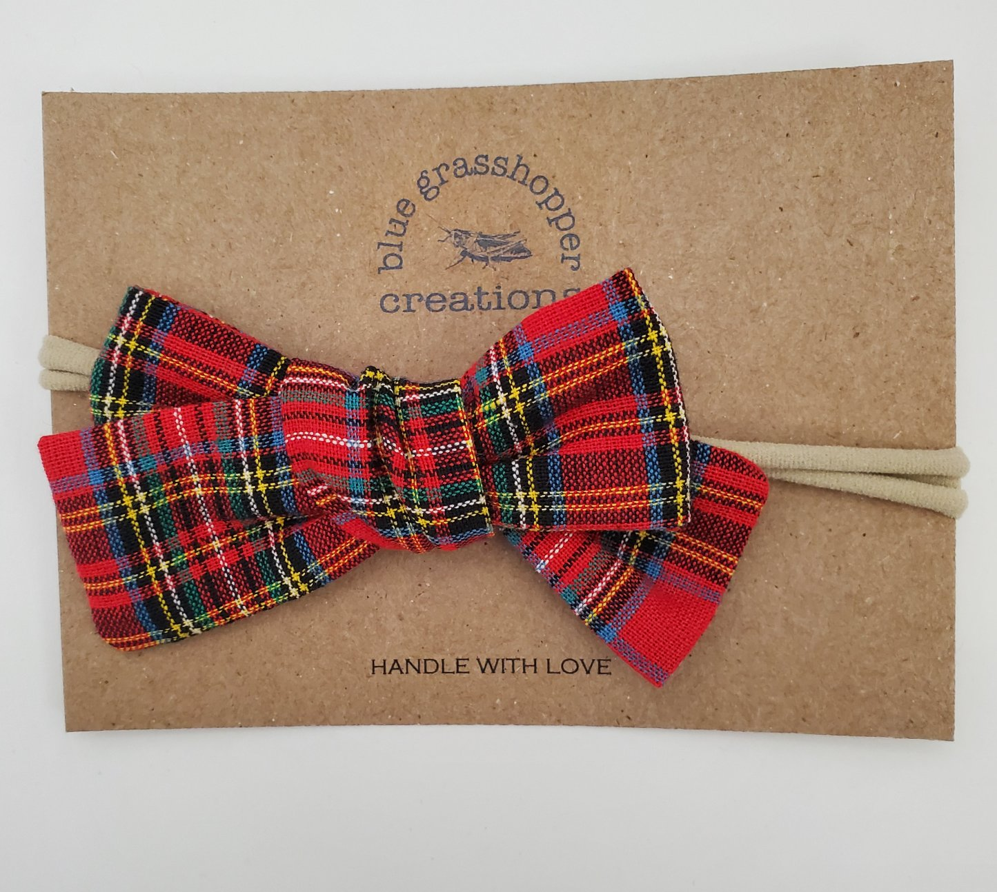 Blue Grasshopper Creations Red Plaid Bow Headband