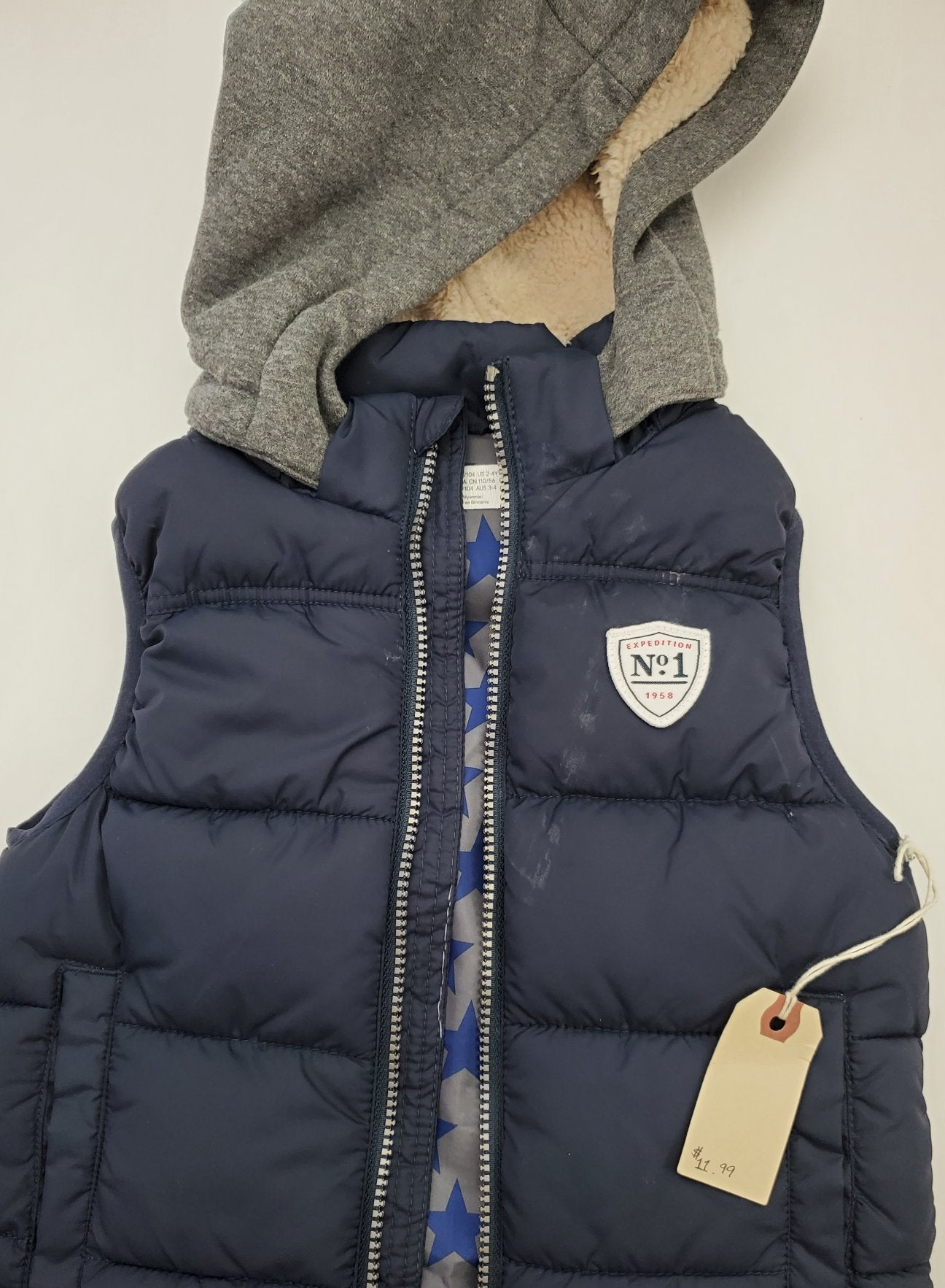 Resale 2-4Y H & M Hooded Puffer Vest - Navy with Stars