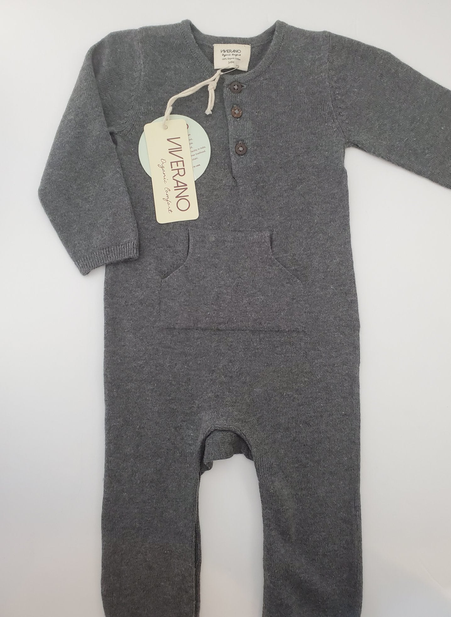 Viverano Milan Knit Kangaroo Pocket Coverall Romper - Grey