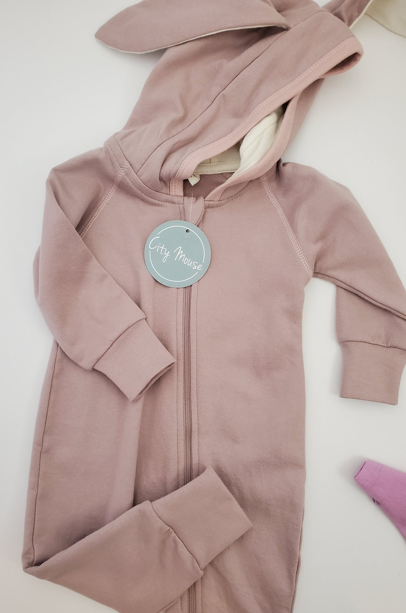 City Mouse Bunny Ears Hooded Zippered Romper