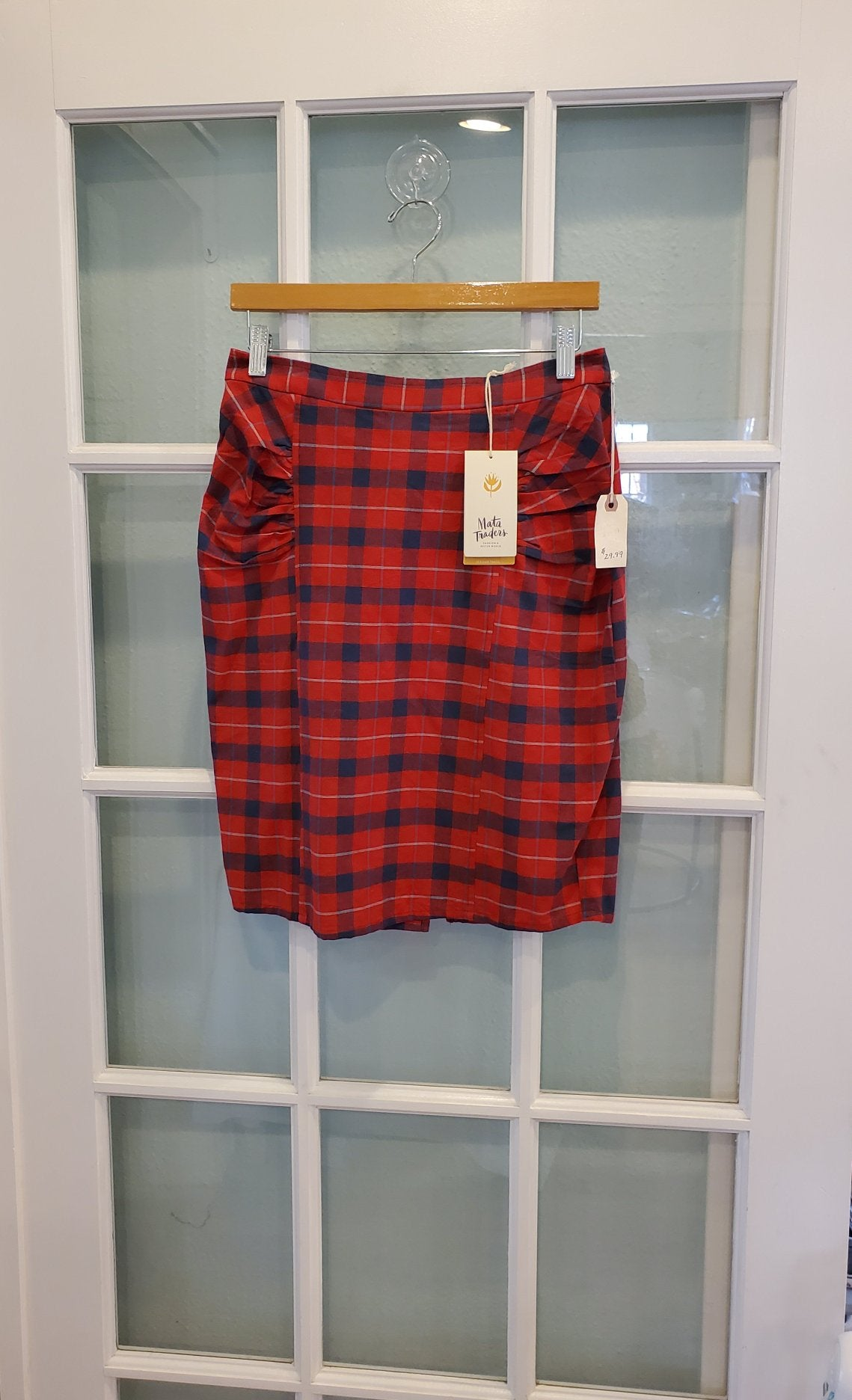 Mata Traders Red Plaid Skirt with Pockets - Medium