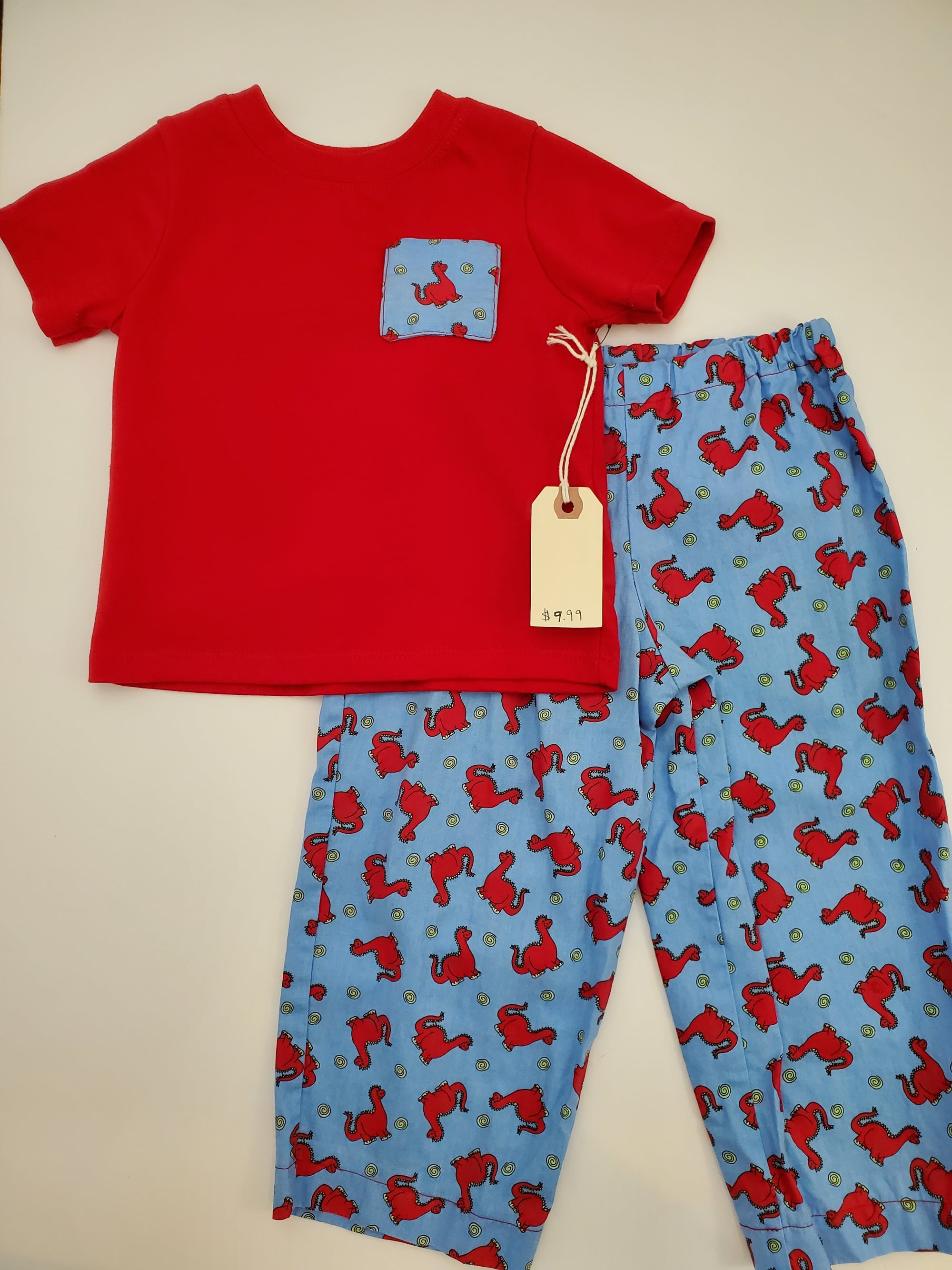 Resale 2T Shirt & Lightweight Pants Set - Red / Blue Dino