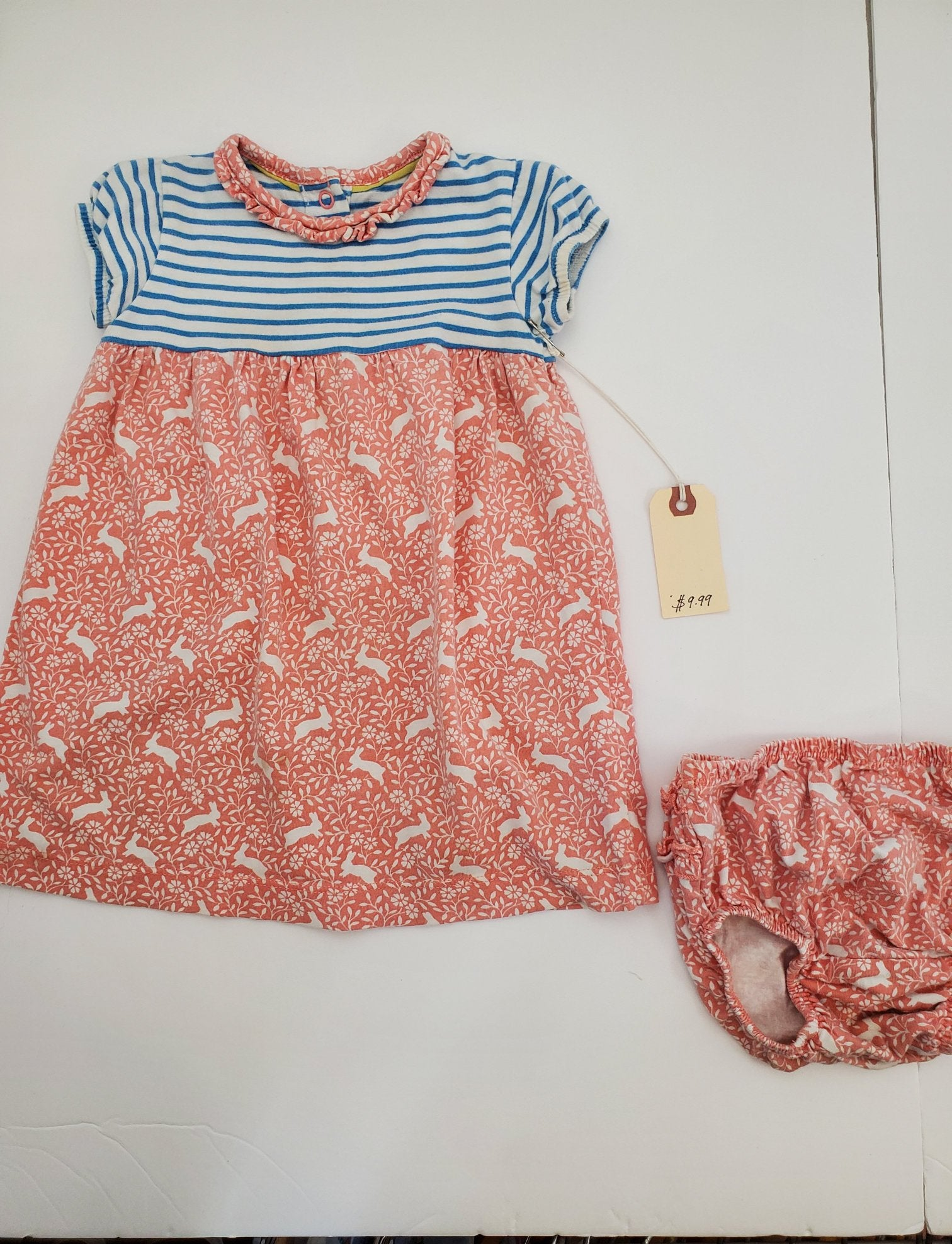 Resale 6-12 m Boden Dress & Bloomers Set - Coral Bunnies / Navy Stripes