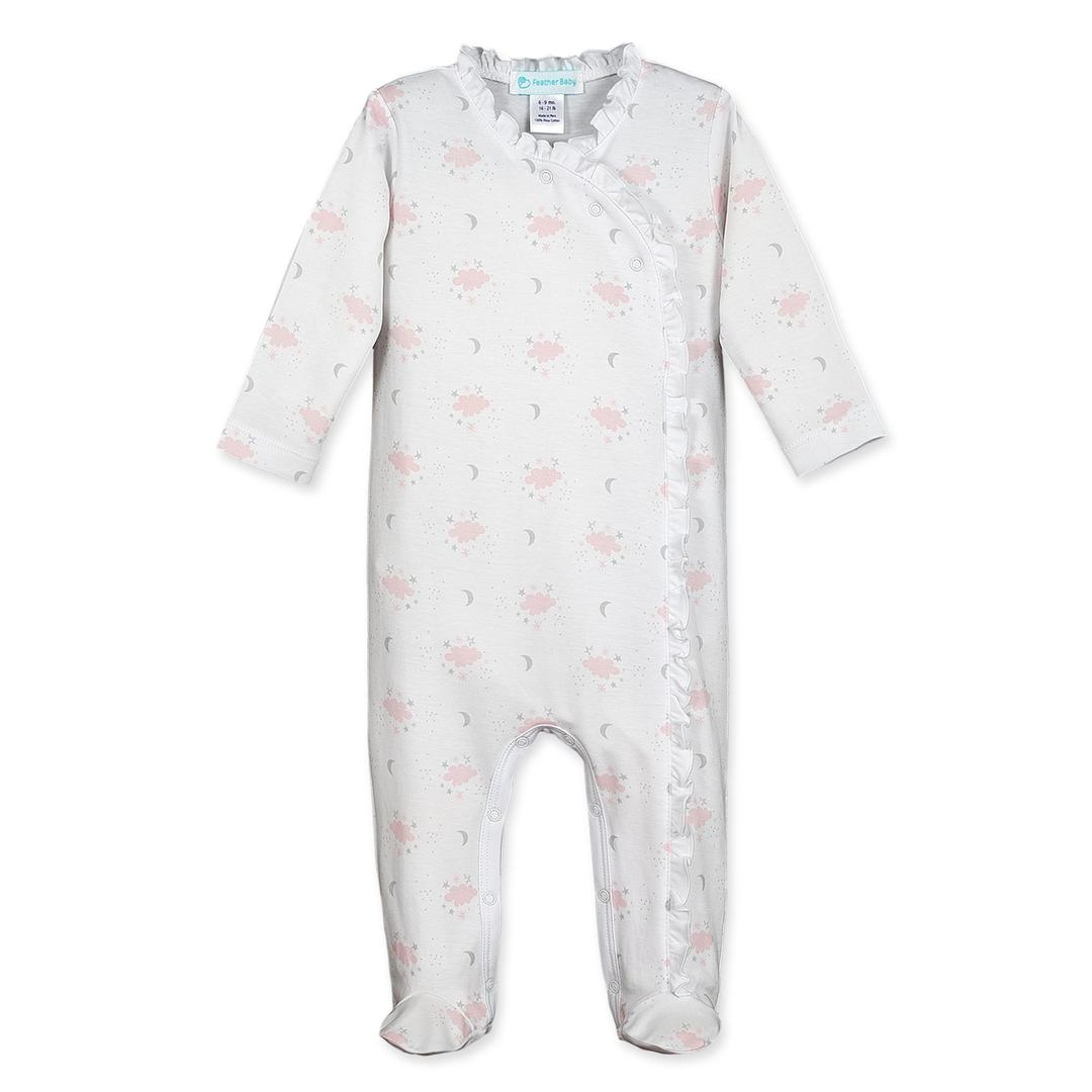 Feather Baby Ruffle Kimono Footie - Night Sky on White