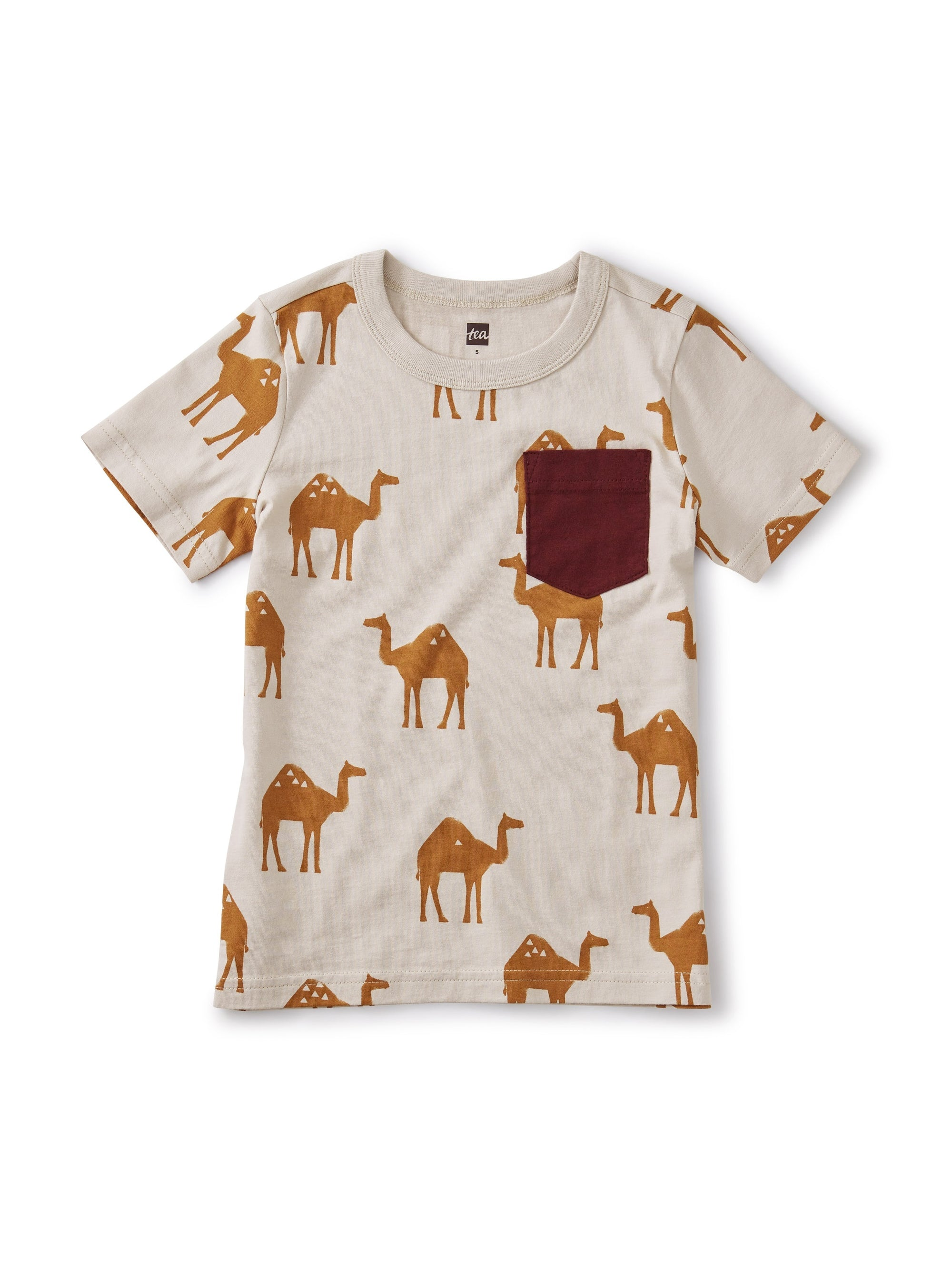Tea Collection Printed Pocket Tee - Oasis Camels/Ash