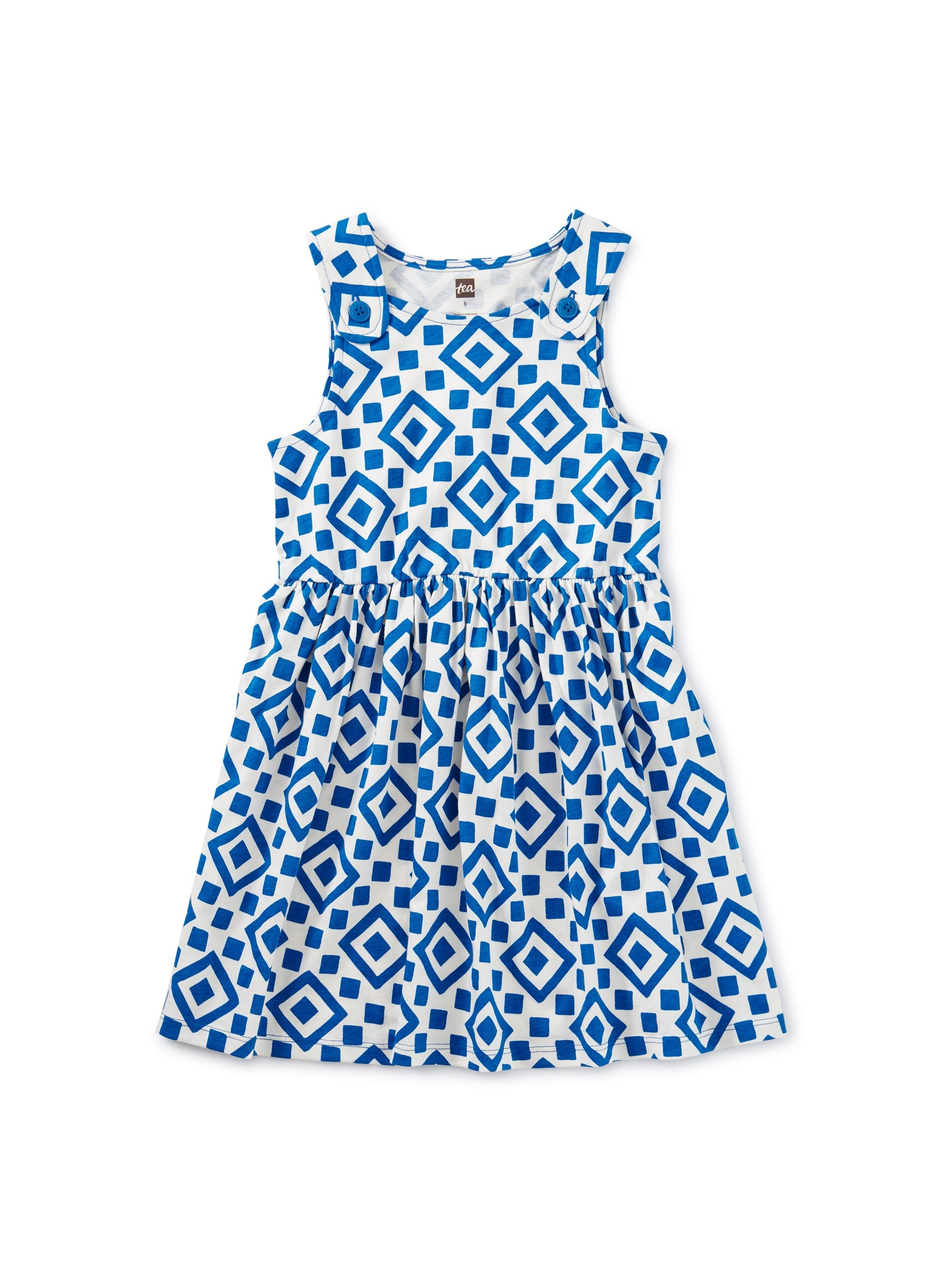 Tea Collection Button Shoulder Dress - Greek Tile