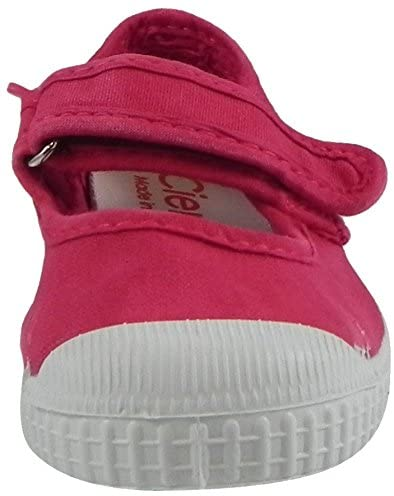 Cienta Distressed Canvas Mary Jane in Rosa Vivo (Washed Hot Pink), 76777