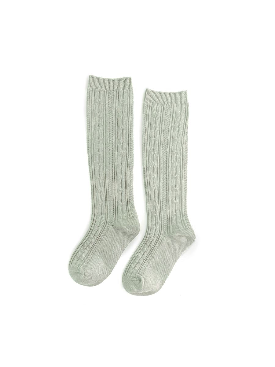 Little Stocking Co. Cable Knit Knee High Socks - Sage