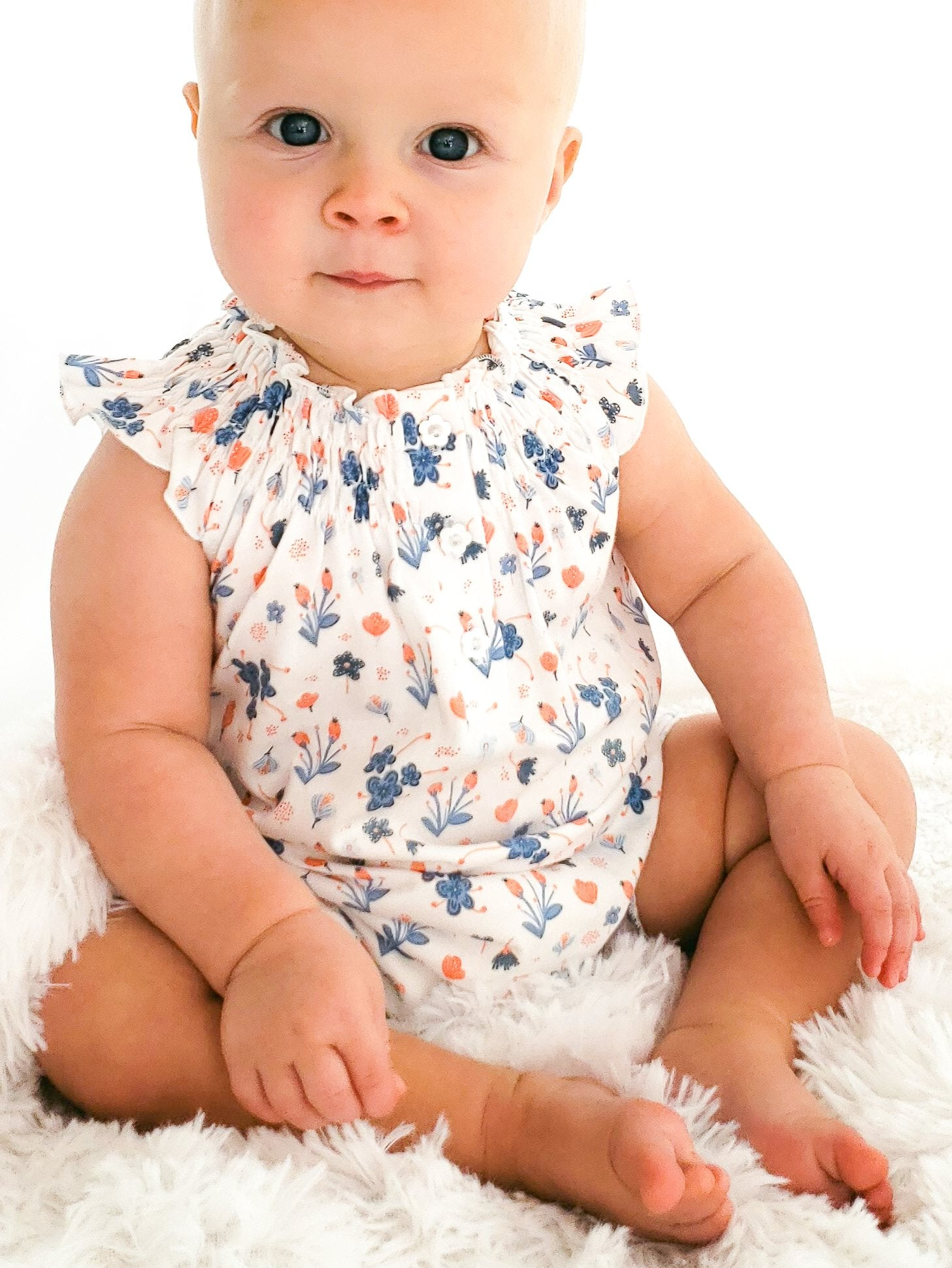 Feather Baby Angel Sleeve Romper - Blue Emily