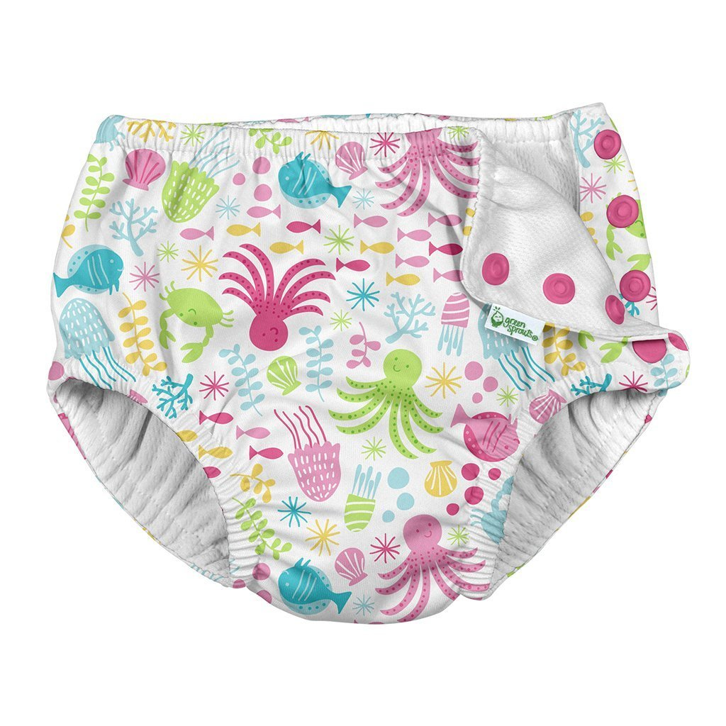 I Play Green Sprouts Snap Reusable Absorbent Swim Diaper - White Sea Pals