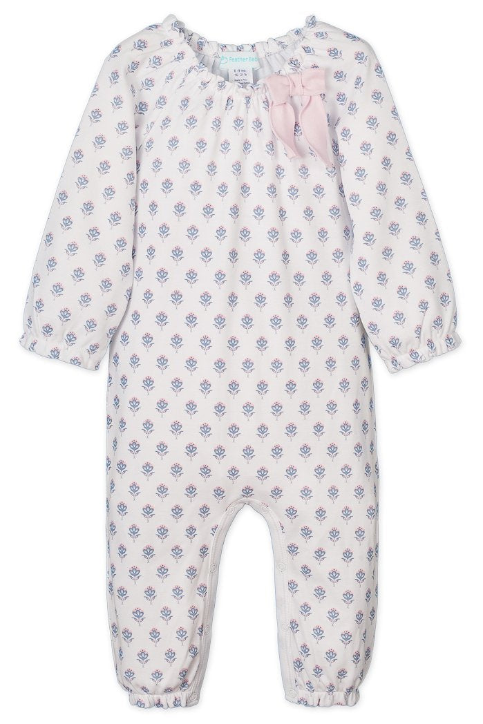 Feather Baby Bow Romper - Sophia on White