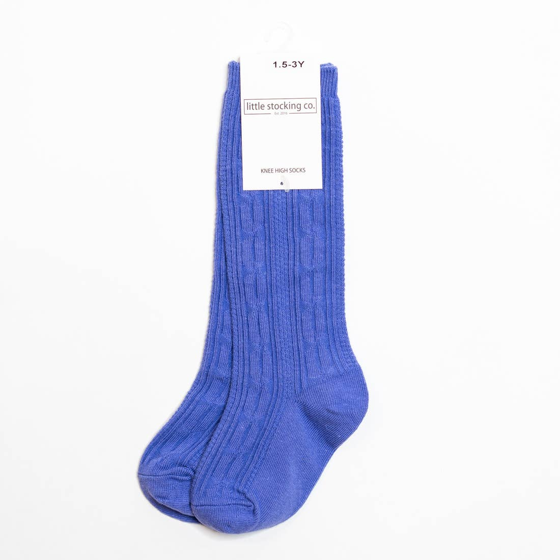 Little Stocking Co. Cable Knit Knee High Socks - Periwinkle