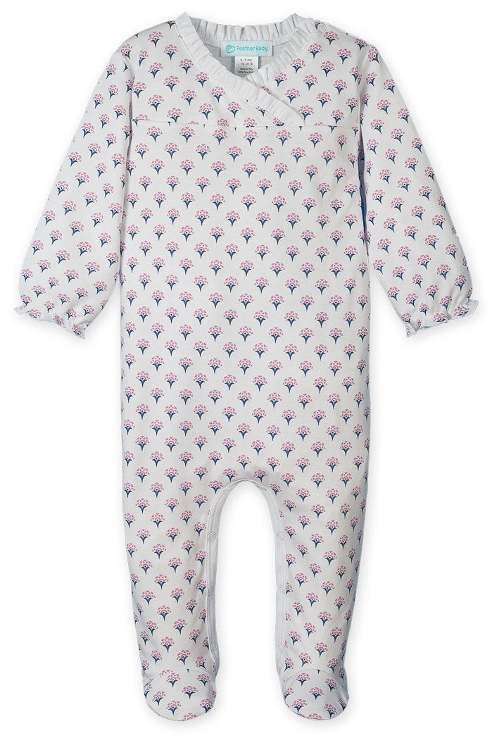 Feather Baby Crossover Footie Jude - Floral on White