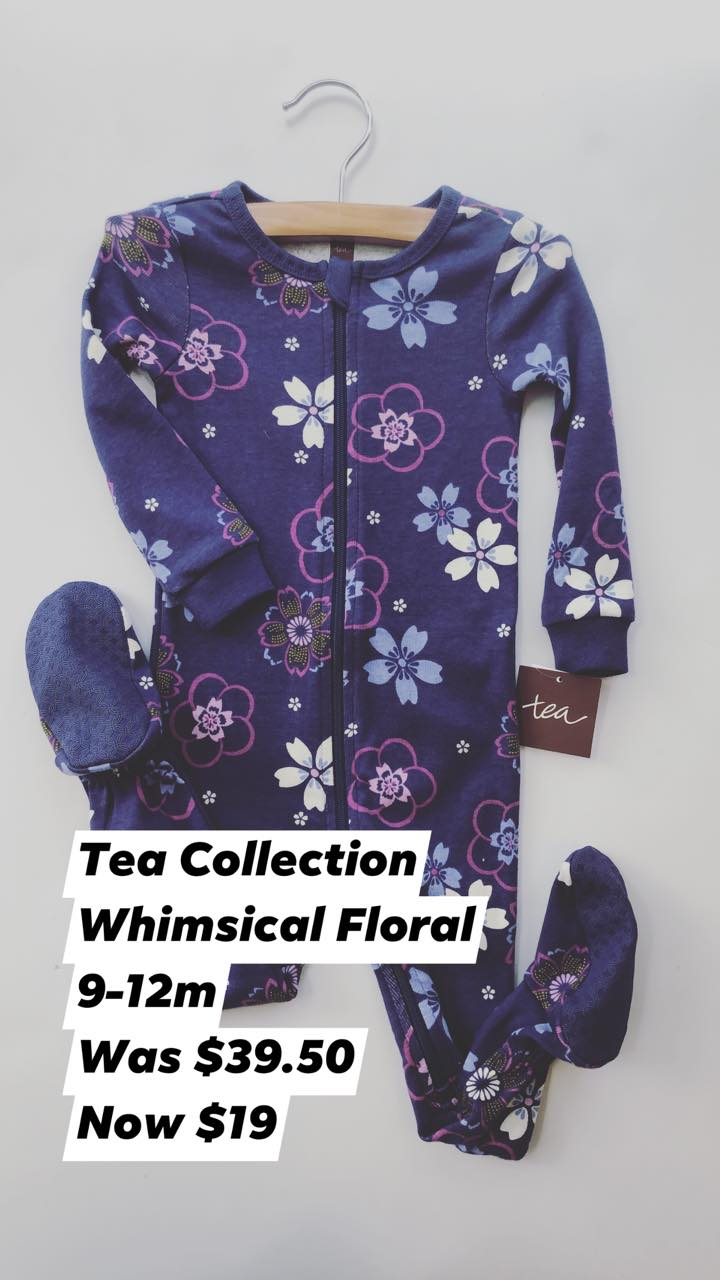 Resale 9-12 m Tea Collection Floral Zipper Pajamas